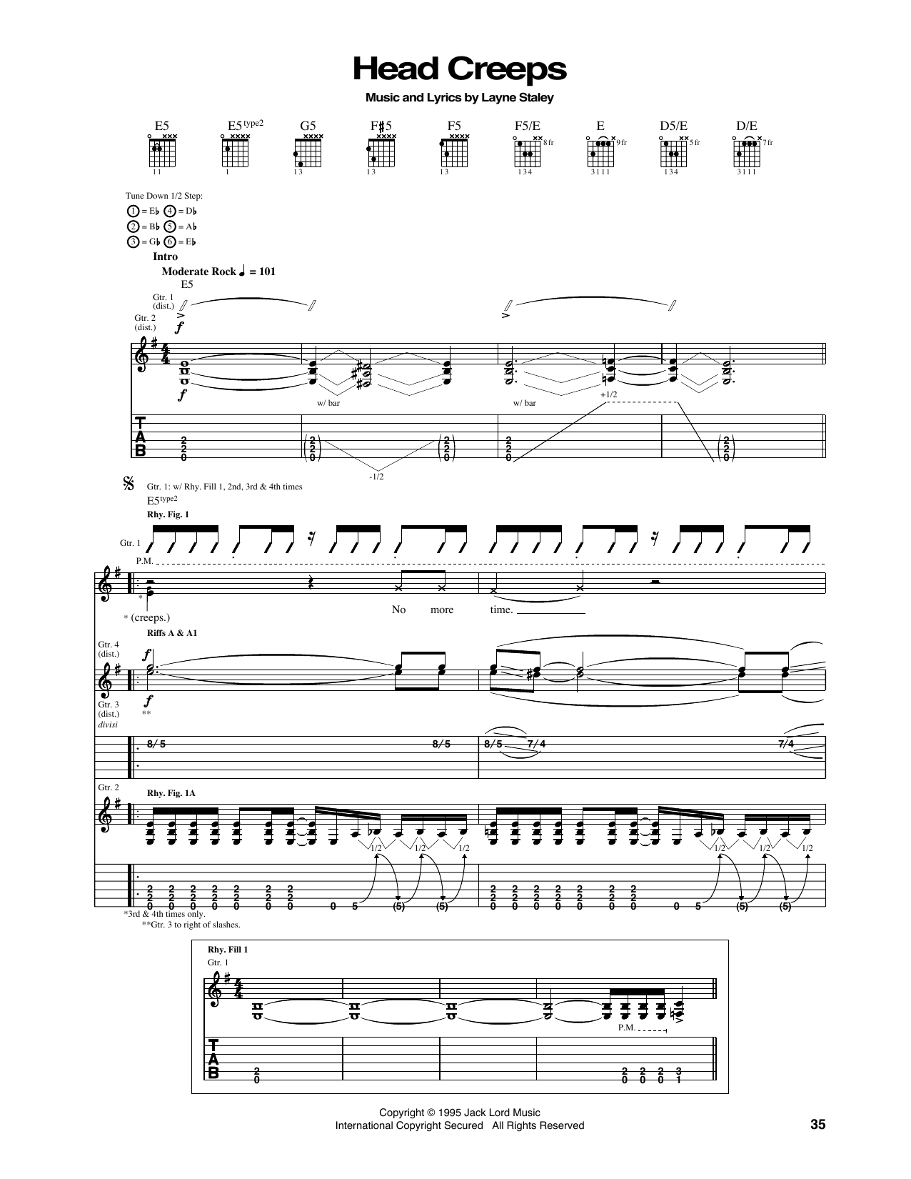 Tablature guitare Head Creeps de Alice In Chains - Tablature Guitare