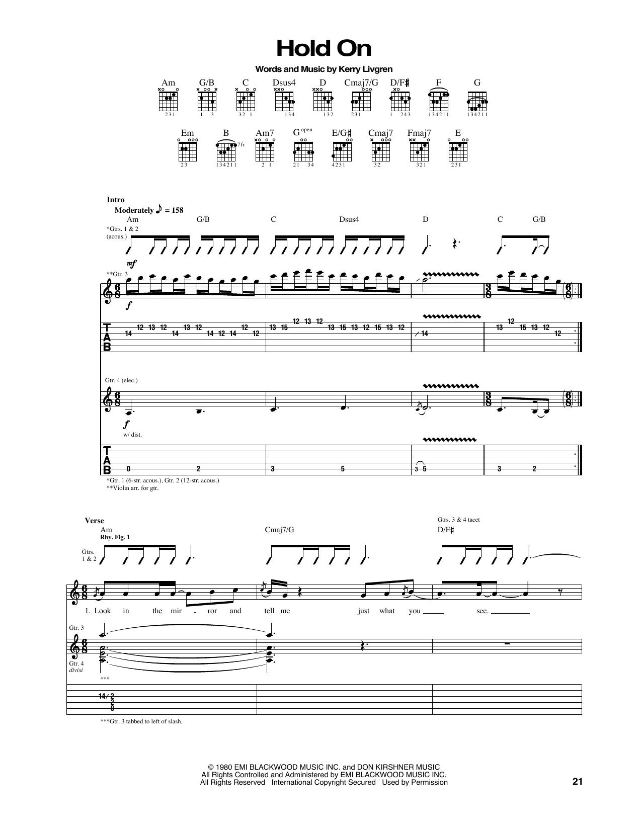 Tablature guitare Hold On de Kansas - Tablature Guitare