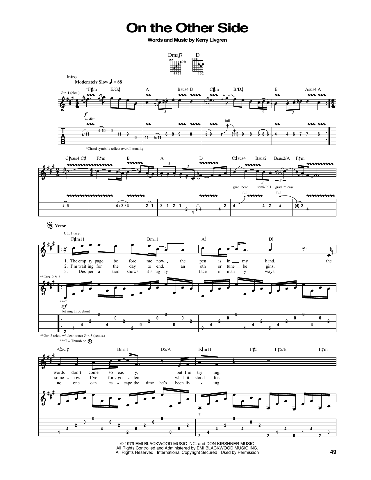 Tablature guitare On The Other Side de Kansas - Tablature Guitare