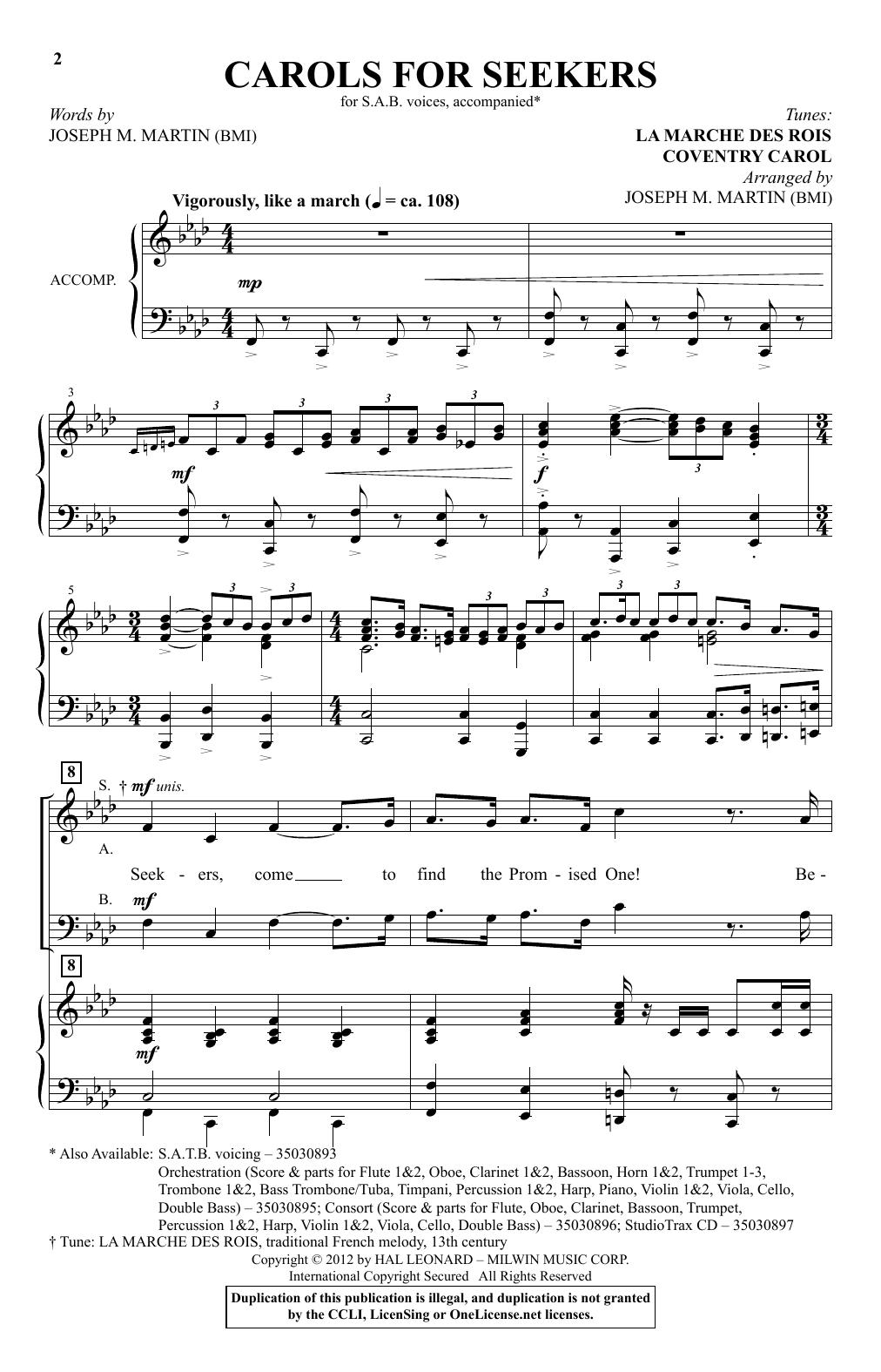 Partition chorale Carol For Seekers de Joseph M. Martin - SAB