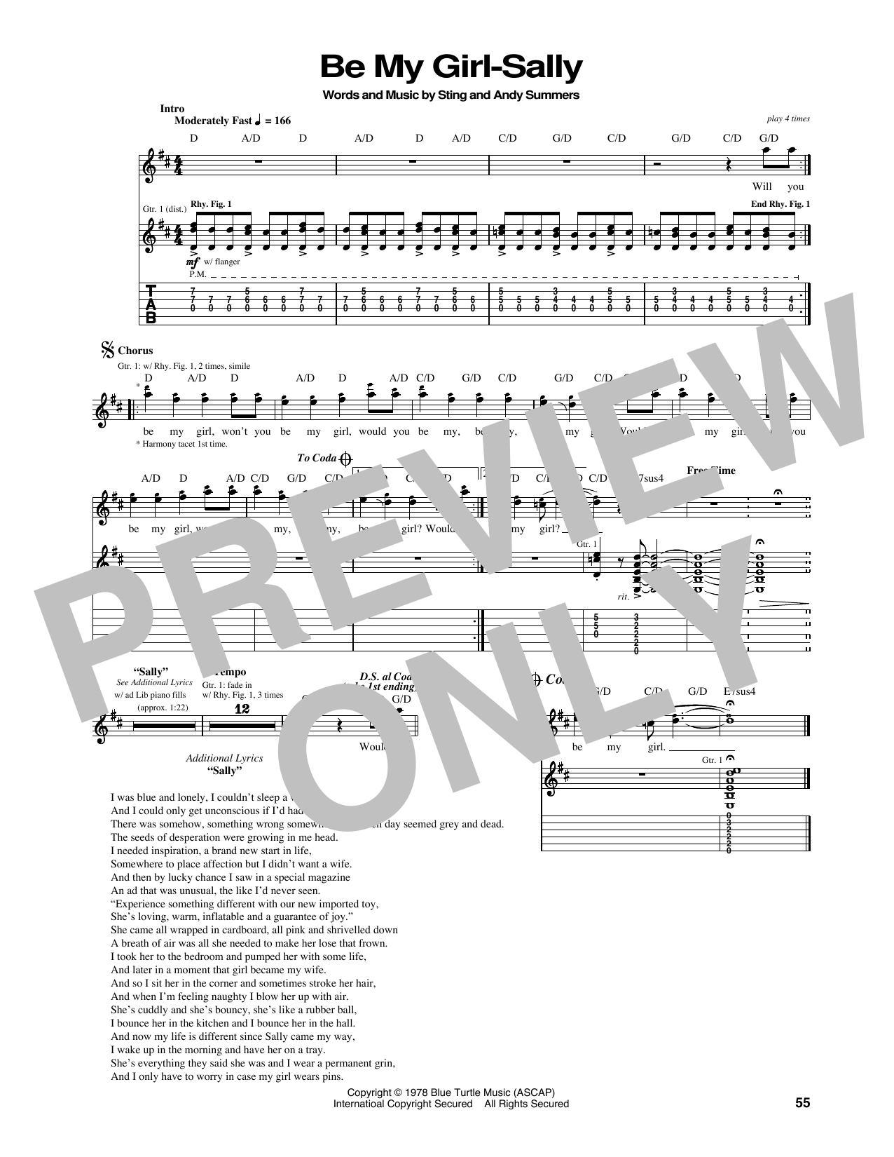 Tablature guitare Be My Girl de The Police - Tablature Guitare