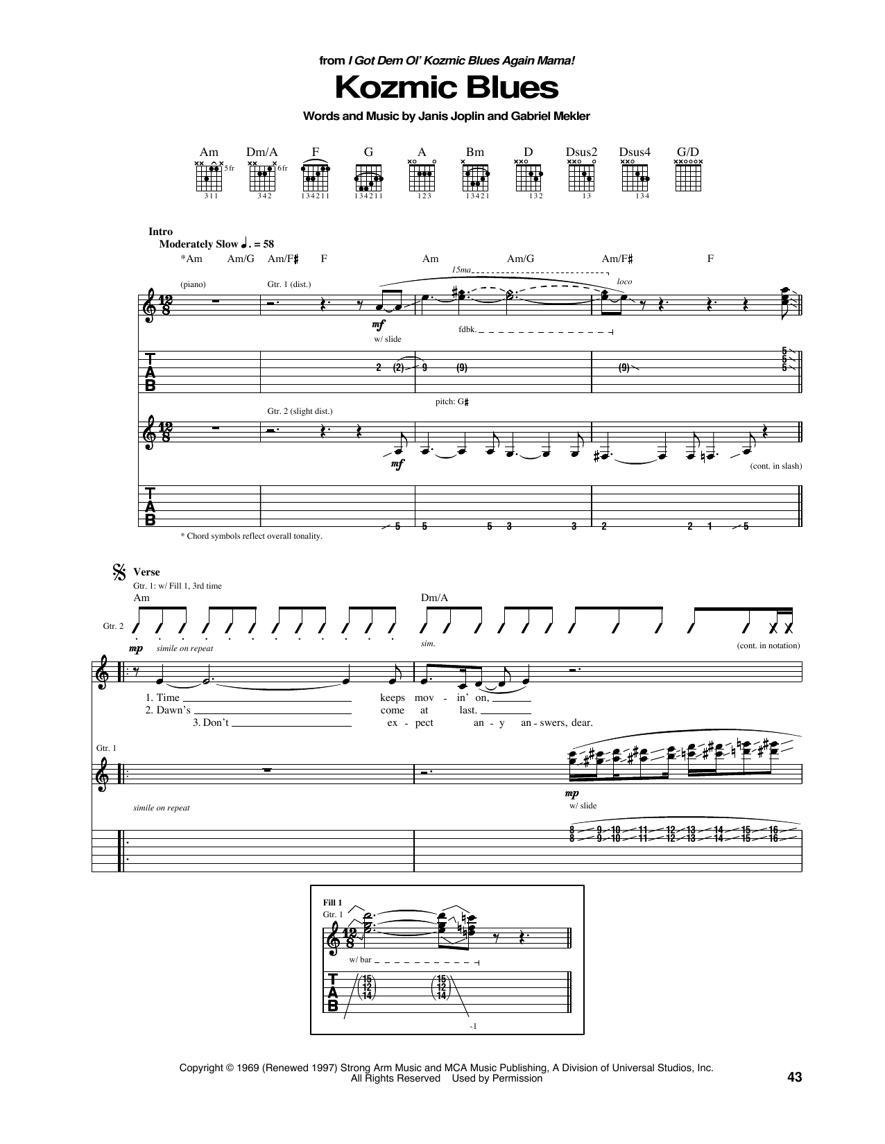 Tablature guitare Kozmic Blues de Janis Joplin - Tablature Guitare