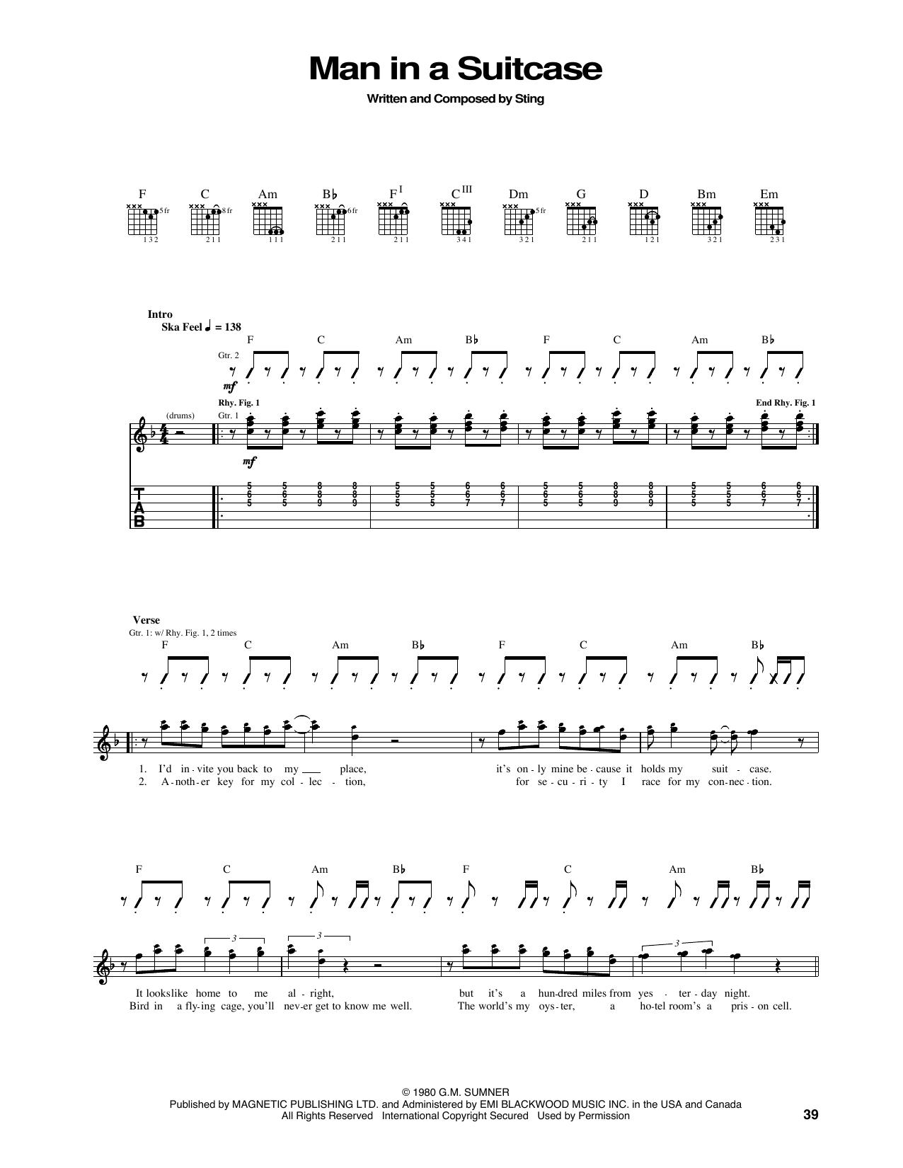 Tablature guitare Man In A Suitcase de The Police - Tablature Guitare