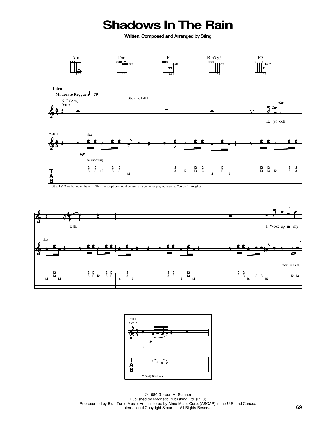 Tablature guitare Shadows In The Rain de The Police - Tablature Guitare