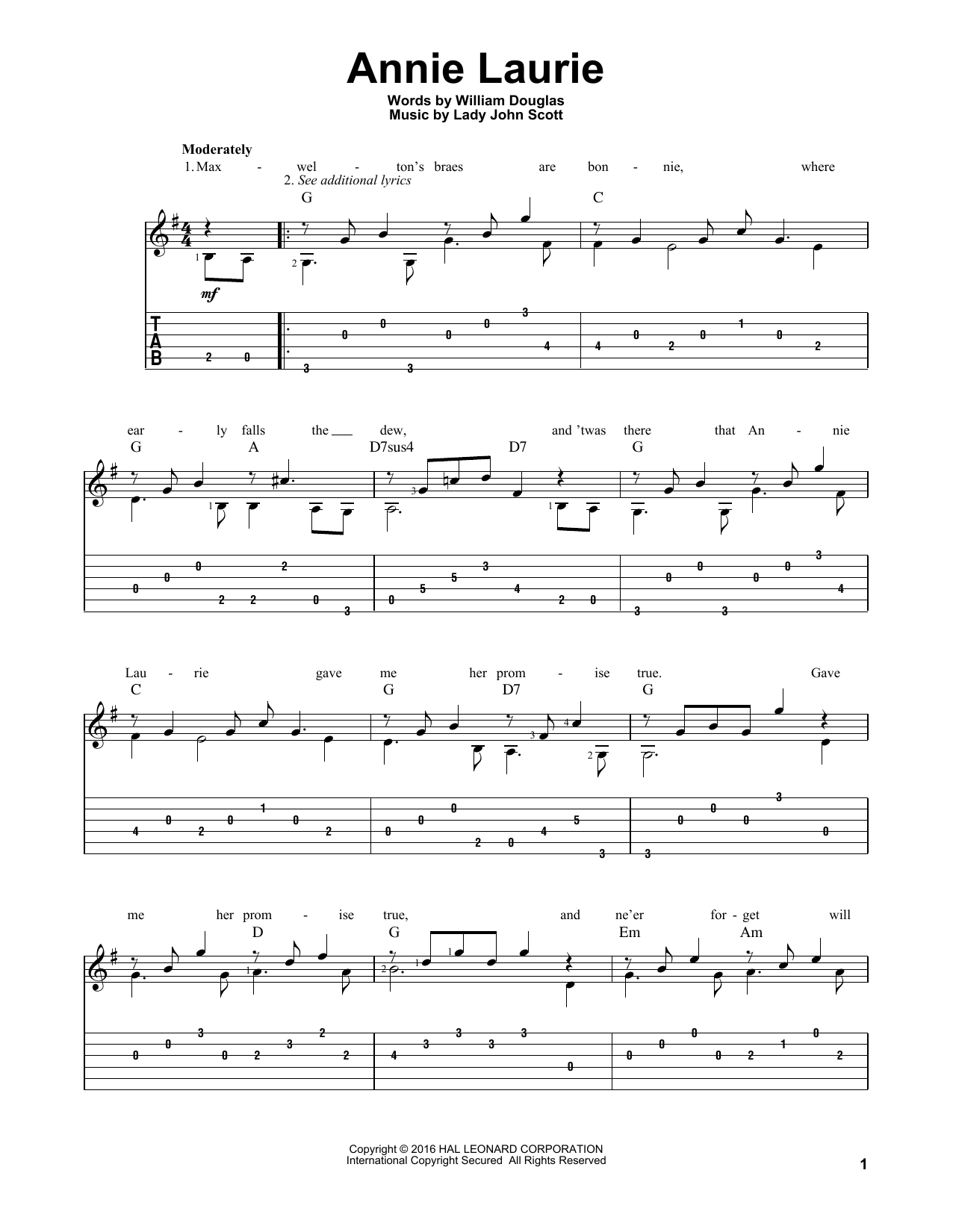 Tablature guitare Annie Laurie de William Douglas - Tablature Guitare