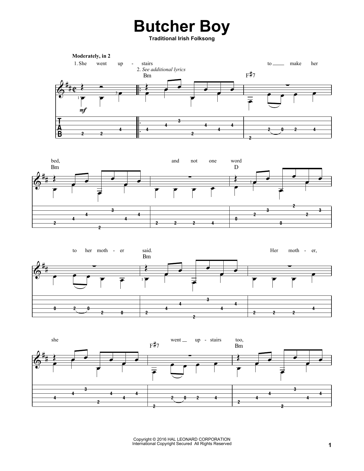 Tablature guitare Butcher Boy de Traditional Irish Folk Song - Tablature Guitare