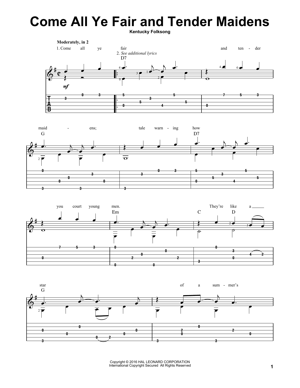 Tablature guitare Come All Ye Fair And Tender Maidens de Kentucky Folksong - Tablature Guitare