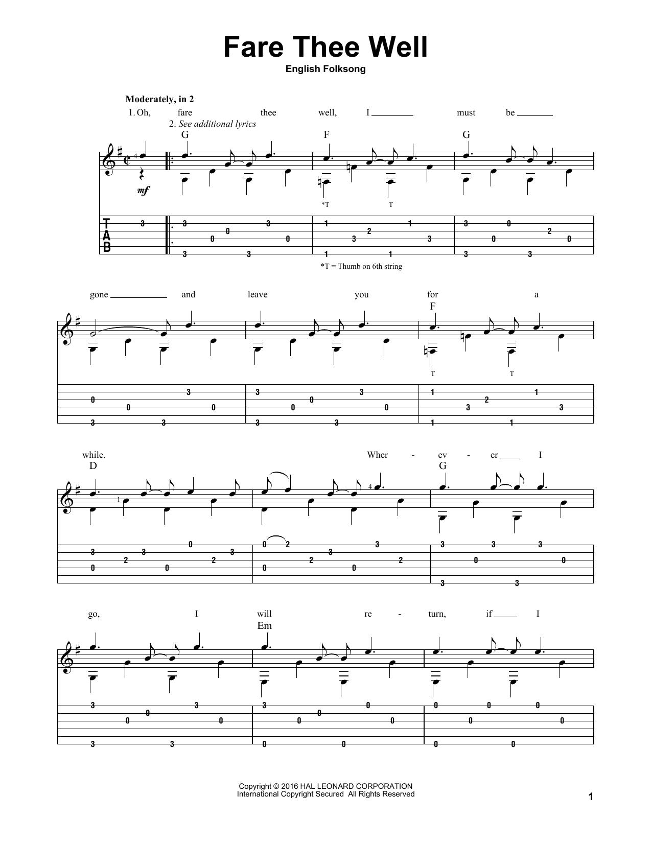 Tablature guitare Fare Thee Well de Traditional English Folksong - Tablature Guitare