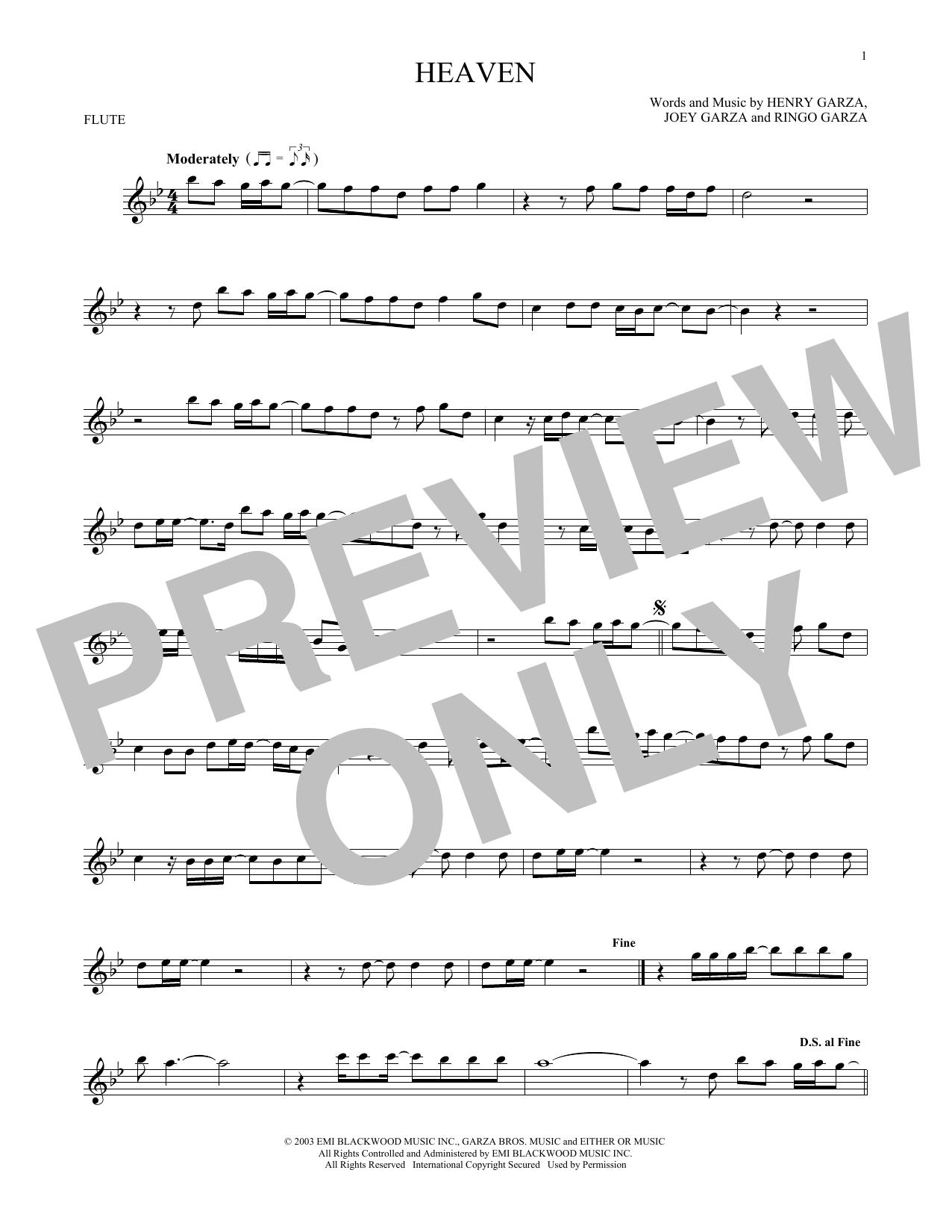 Partition flûte Heaven de Los Lonely Boys - Flute traversiere
