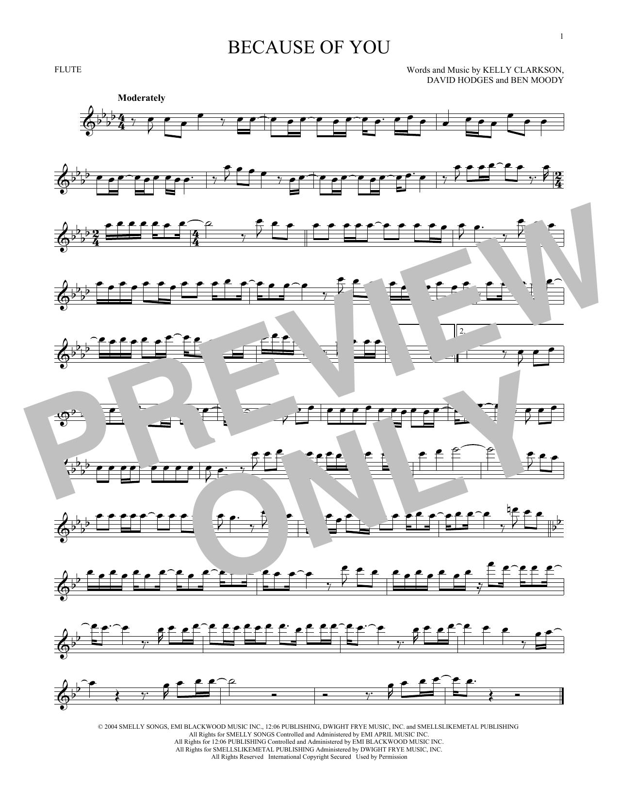 Partition flûte Because Of You de Kelly Clarkson - Flute traversiere