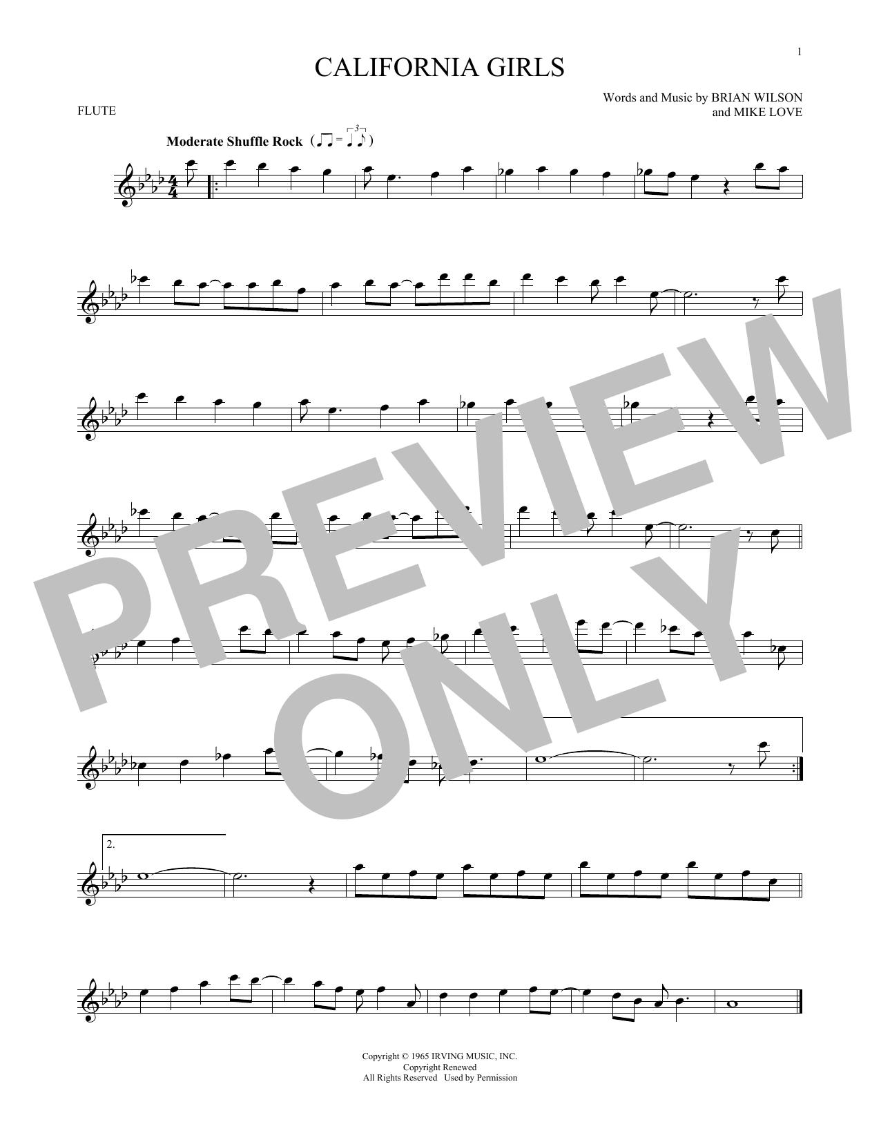 Partition flûte California Girls de The Beach Boys - Flute traversiere