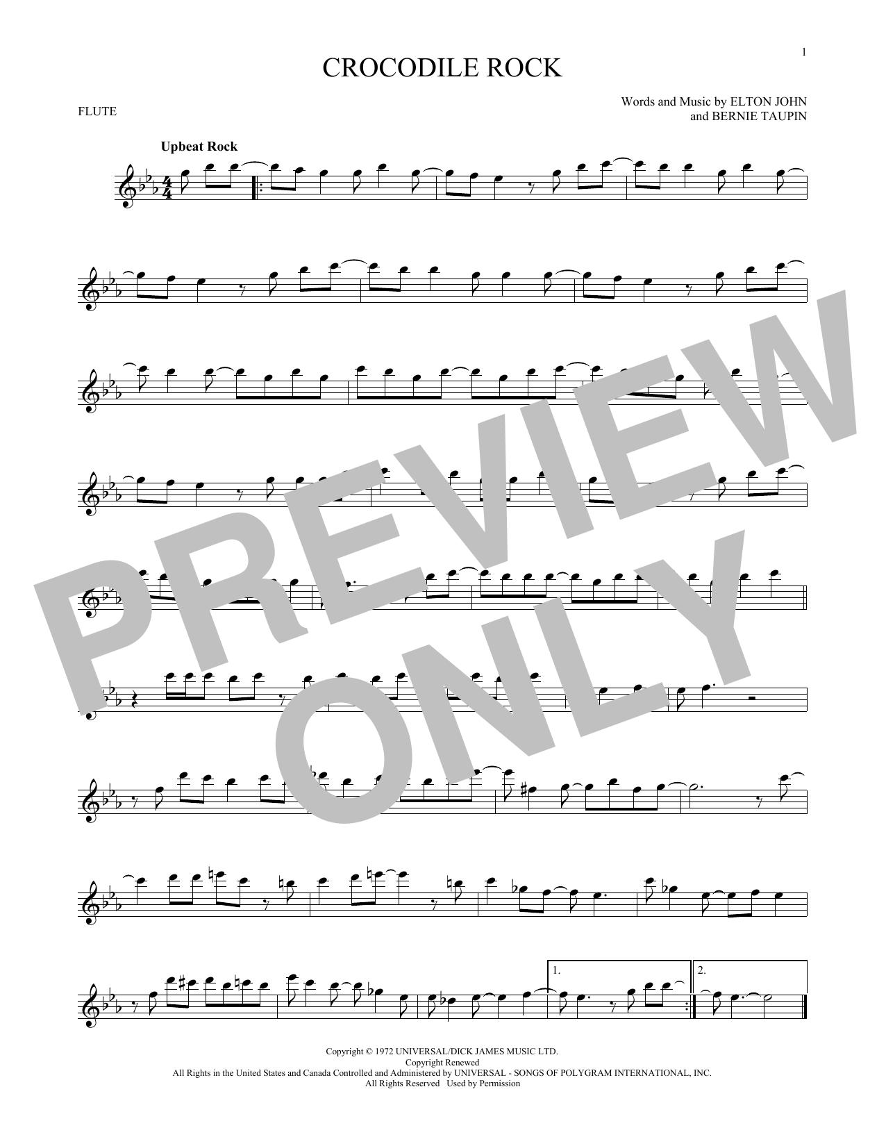Partition flûte Crocodile Rock de Elton John - Flute traversiere