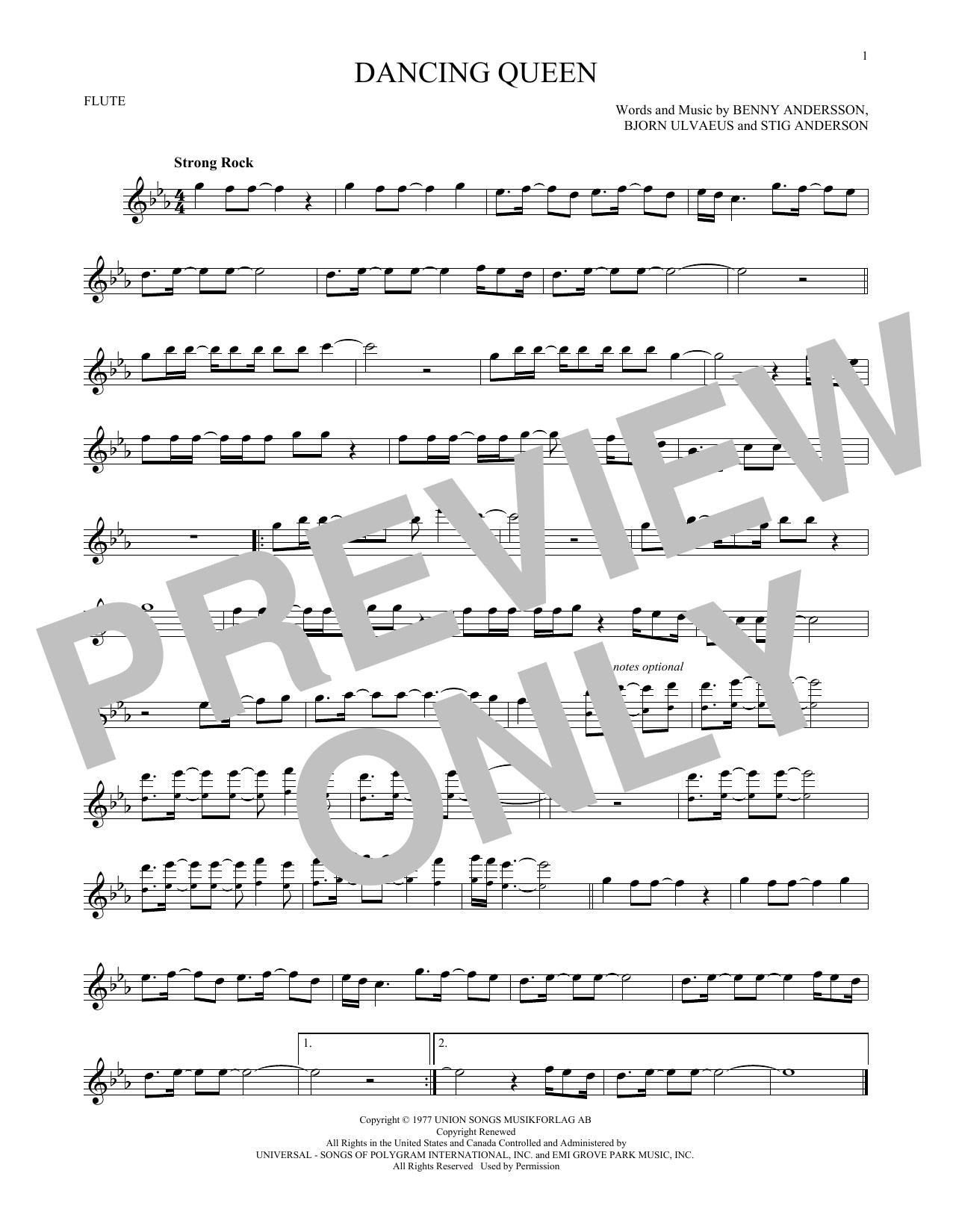 Partition flûte Dancing Queen de Abba - Flute traversiere