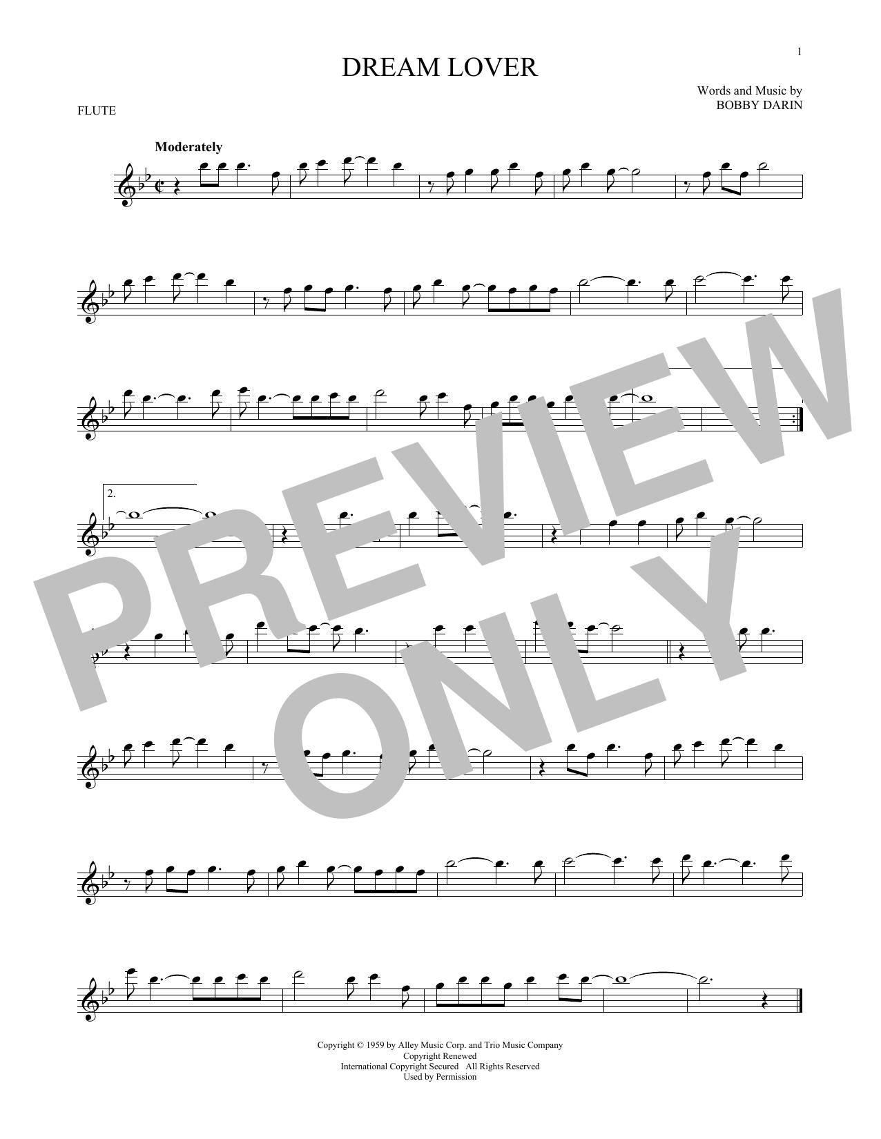 Partition flûte Dream Lover de Bobby Darin - Flute traversiere