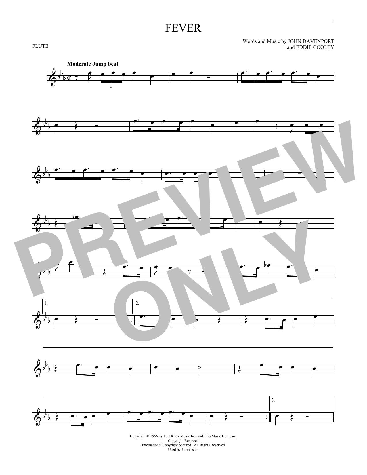 Partition flûte Fever de Eddie Cooley - Flute traversiere