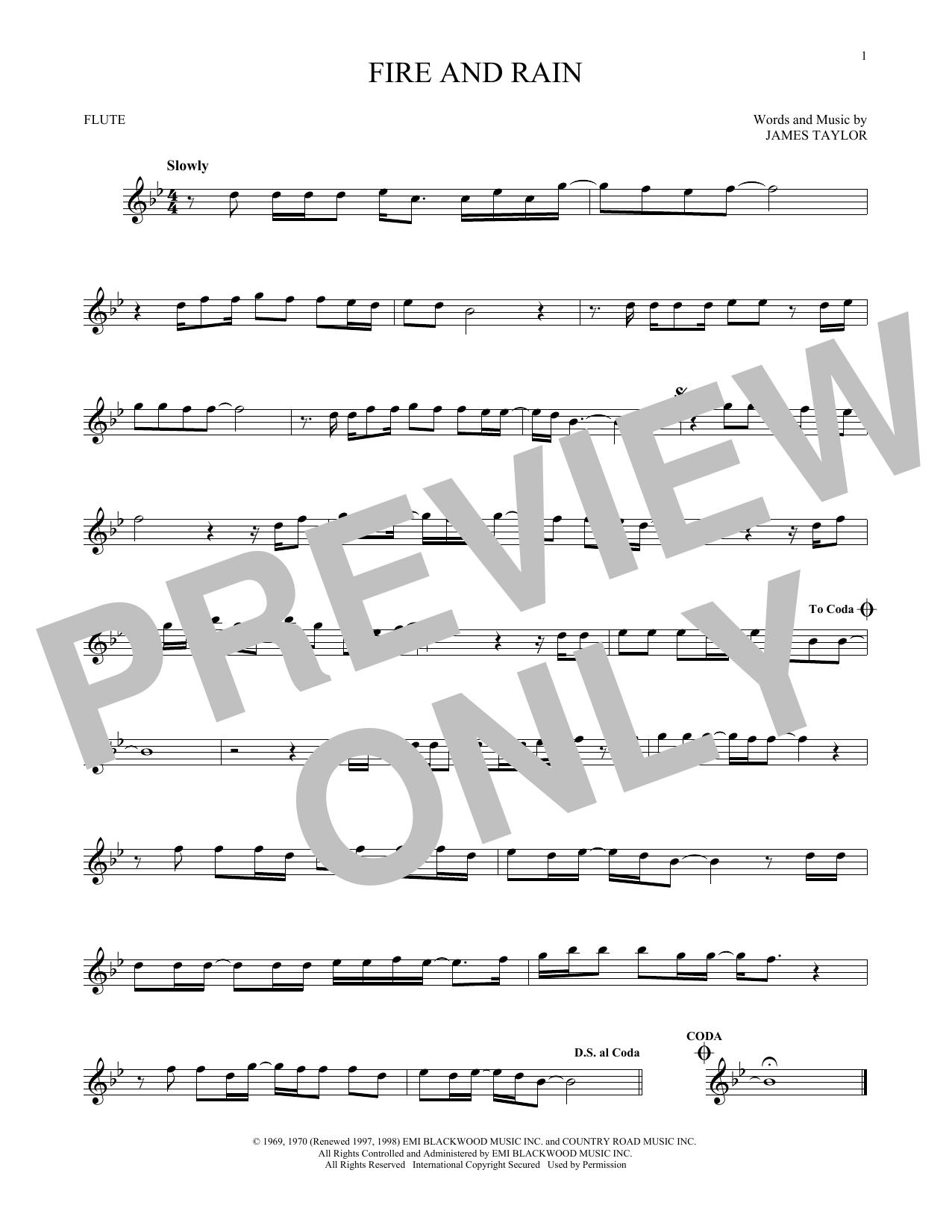 Partition flûte Fire And Rain de James Taylor - Flute traversiere