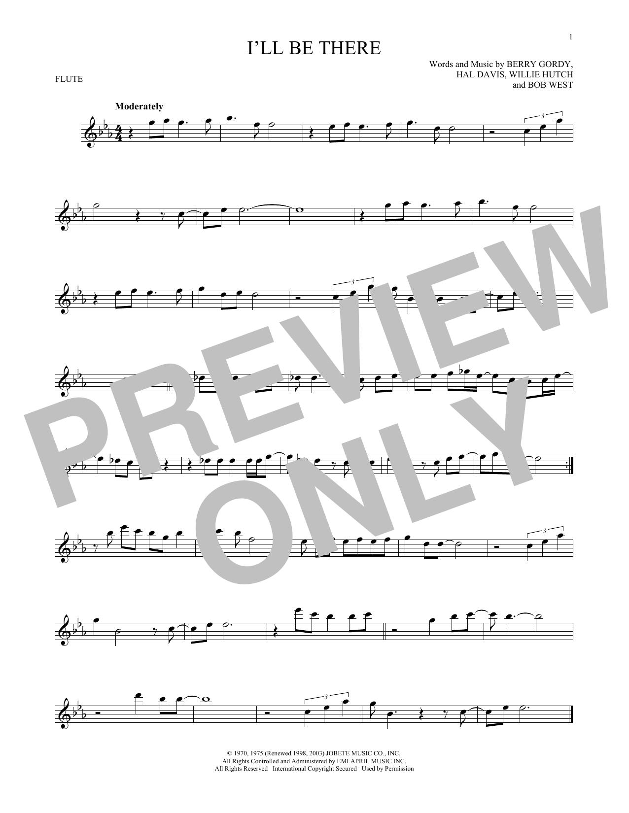 Partition flûte I'll Be There de The Jackson 5 - Flute traversiere