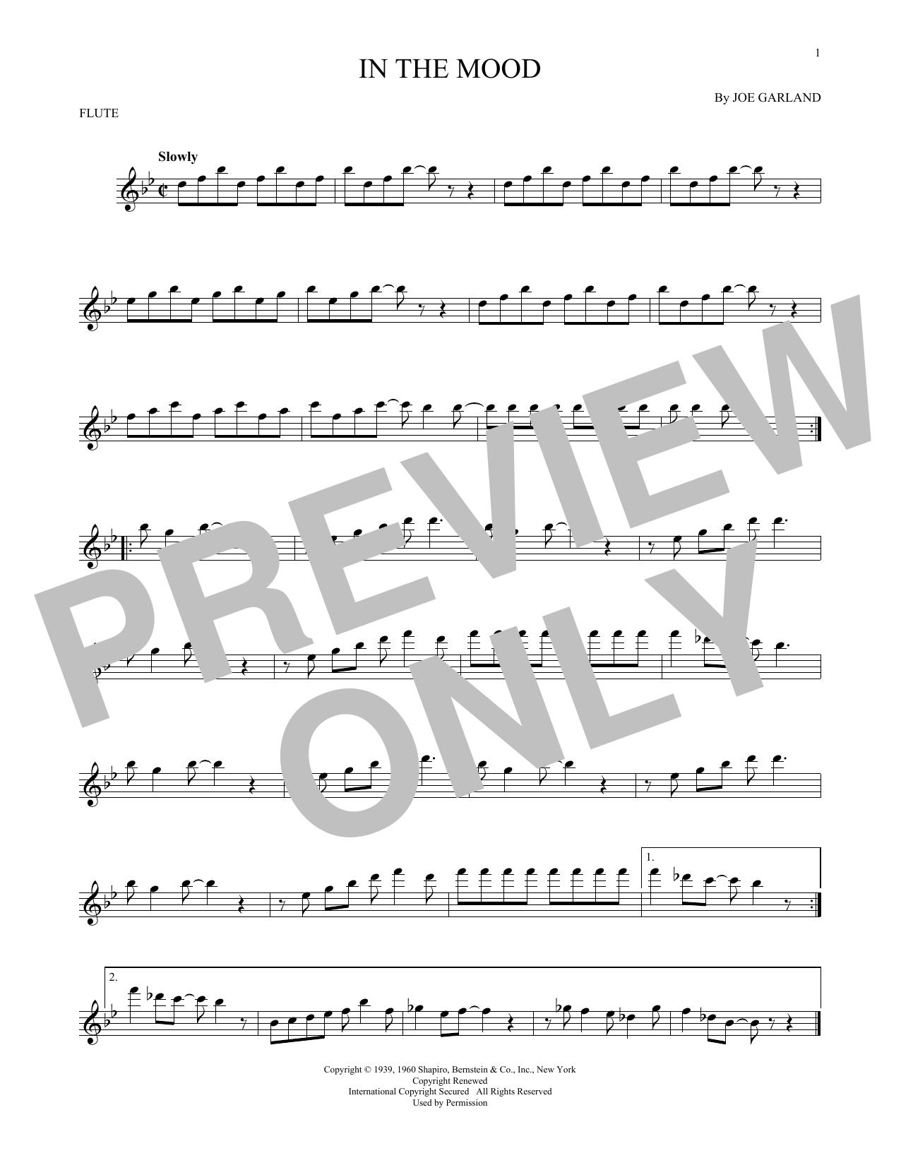 Partition flûte In The Mood de Joe Garland - Flute traversiere