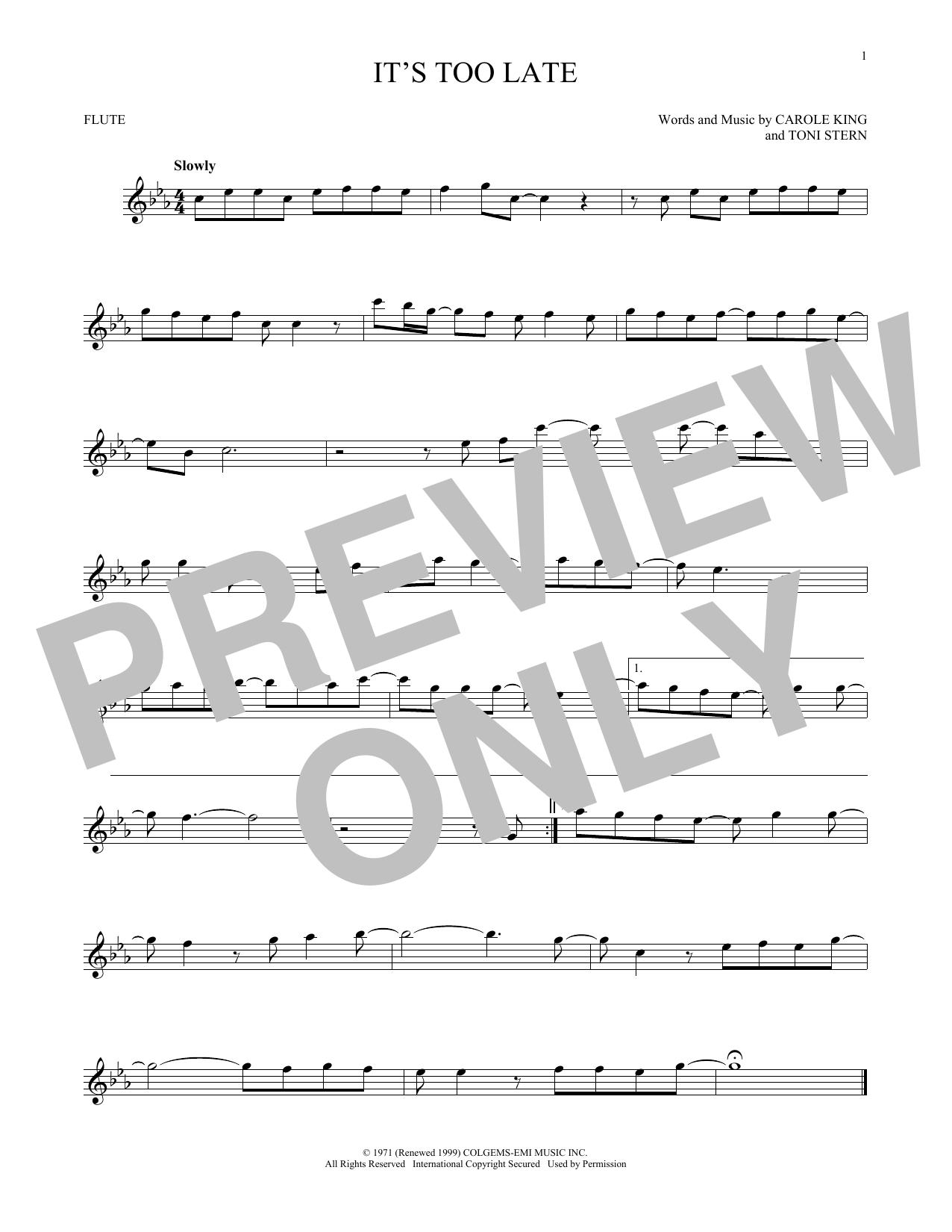 Partition flûte It's Too Late de Carole King - Flute traversiere