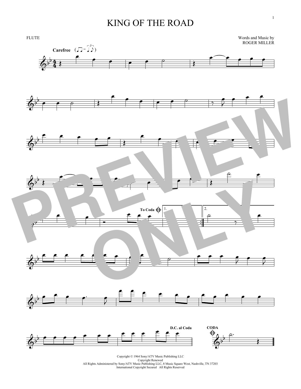 Partition flûte King Of The Road de Roger Miller - Flute traversiere