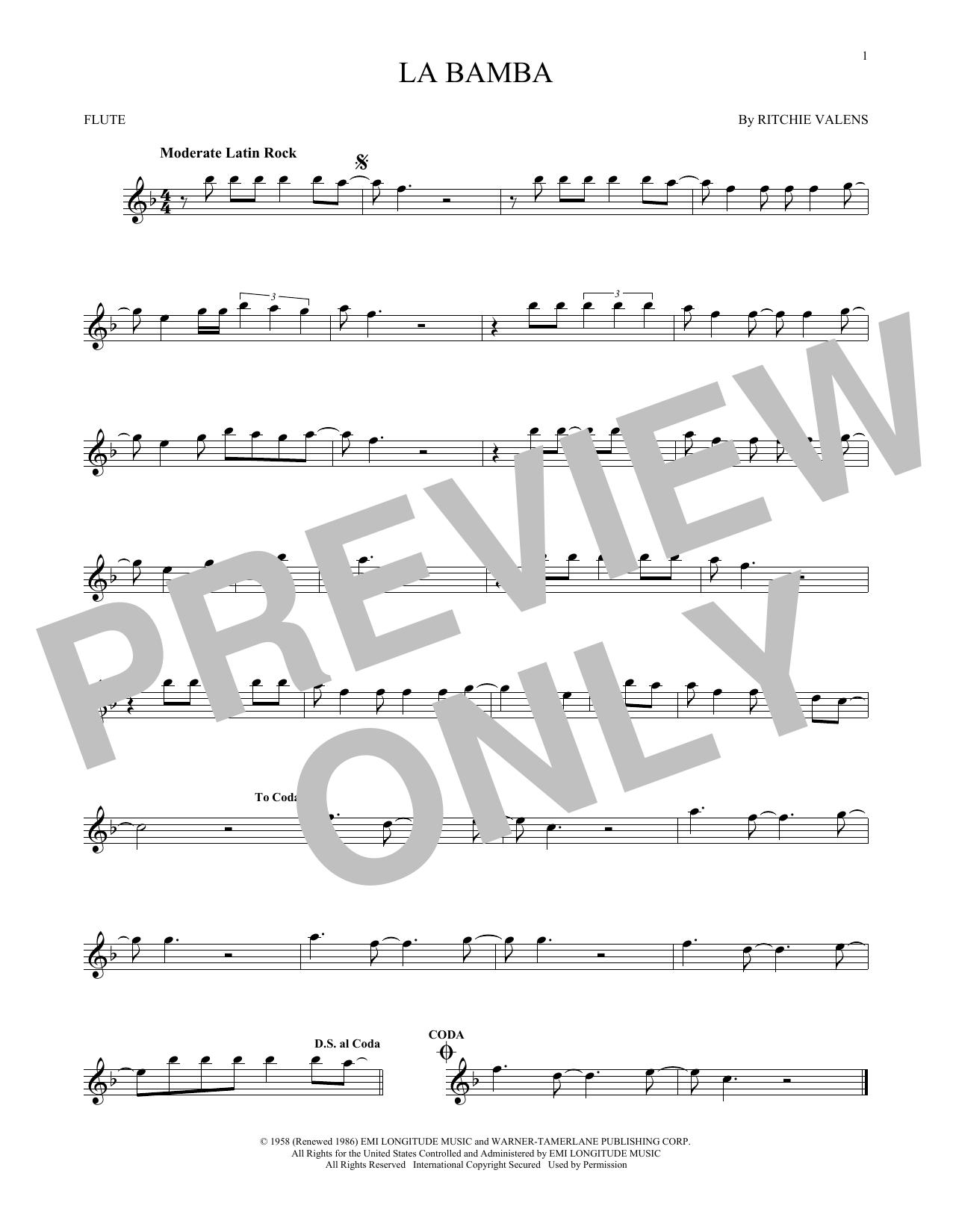 Partition flûte La Bamba de Ritchie Valens - Flute traversiere