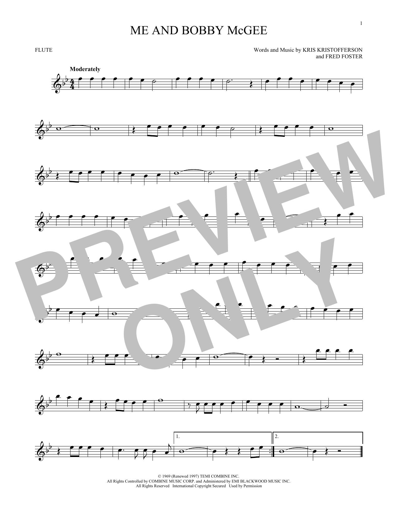 Partition flûte Me And Bobby McGee de Kris Kristofferson - Flute traversiere