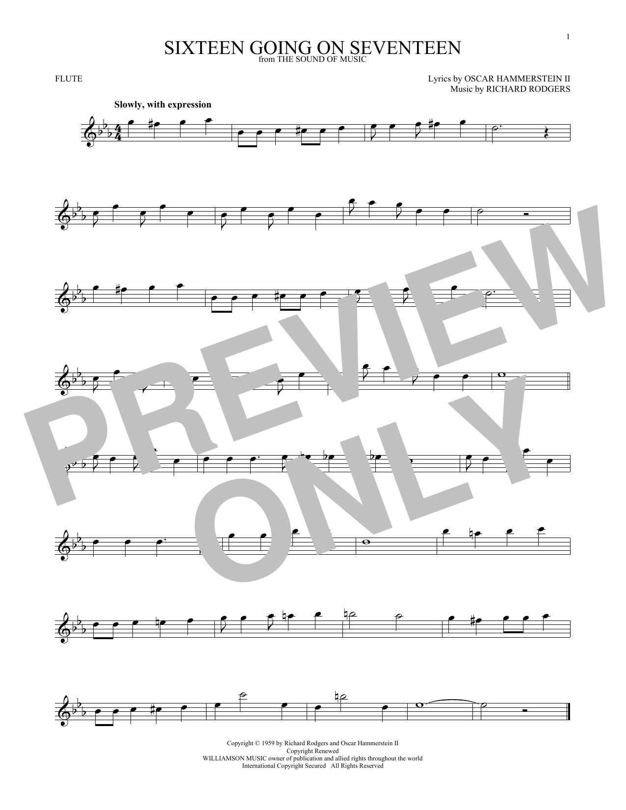 Partition flûte Sixteen Going On Seventeen de Rodgers & Hammerstein - Flute traversiere