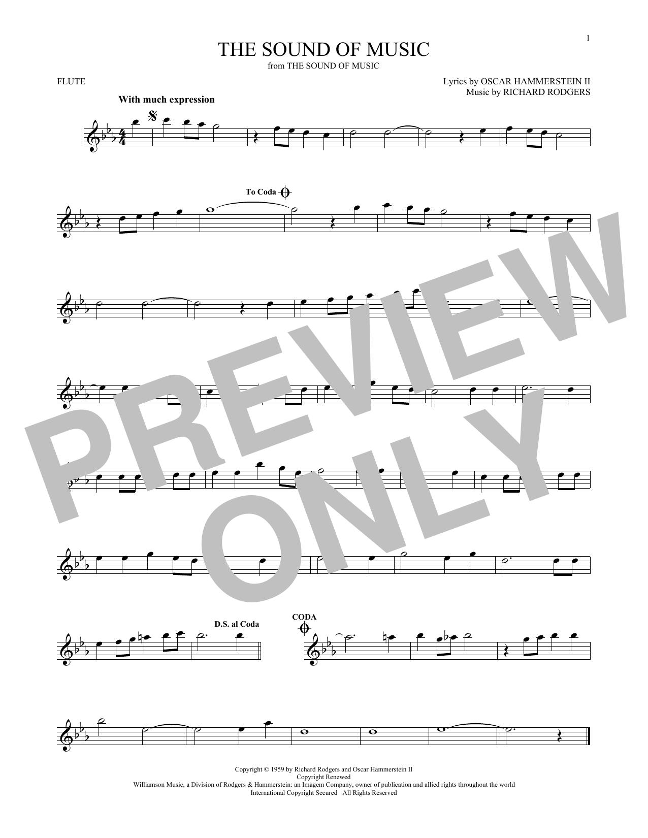 Partition flûte The Sound Of Music de Rodgers & Hammerstein - Flute traversiere