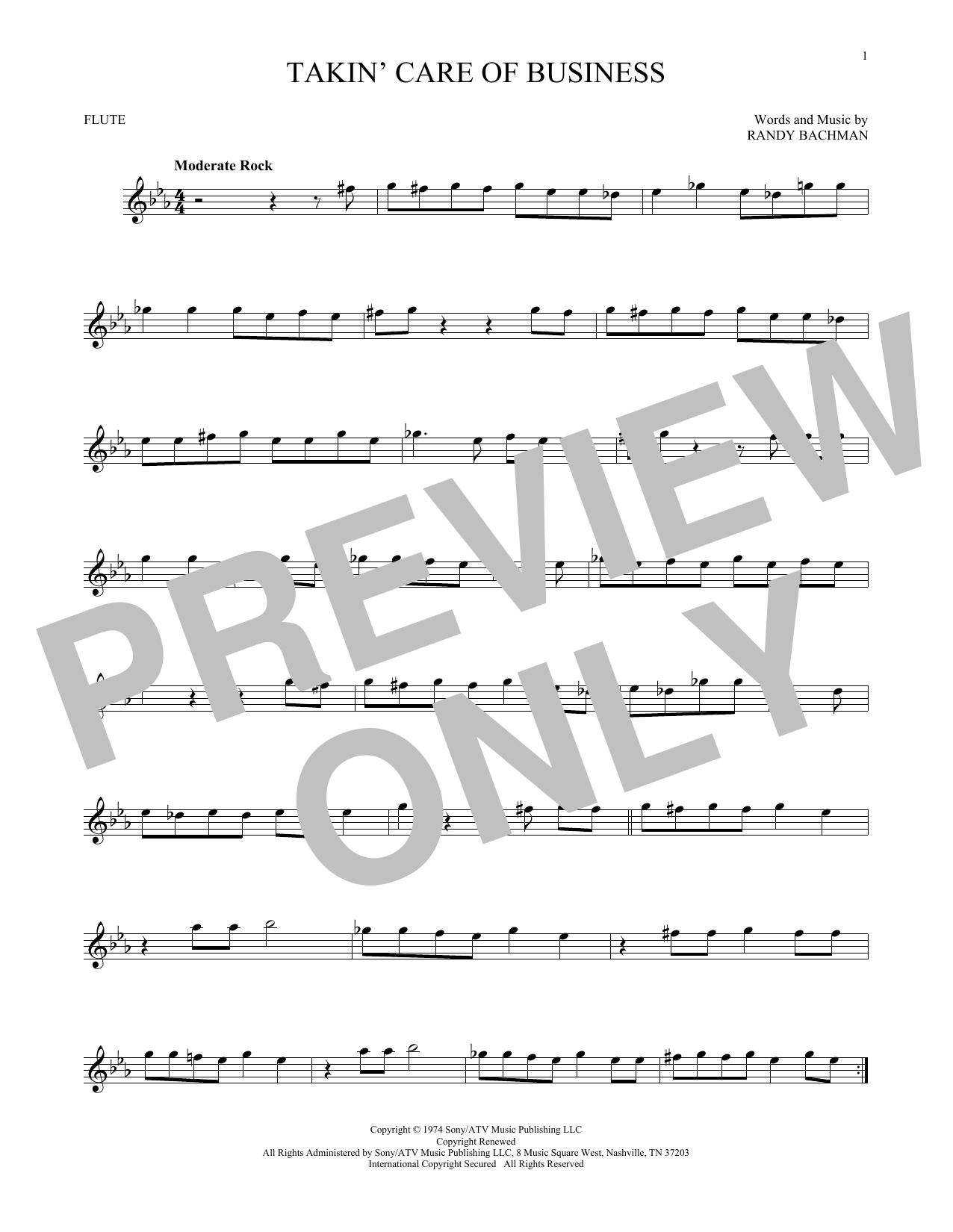Partition flûte Takin' Care Of Business de Bachman-Turner Overdrive - Flute traversiere