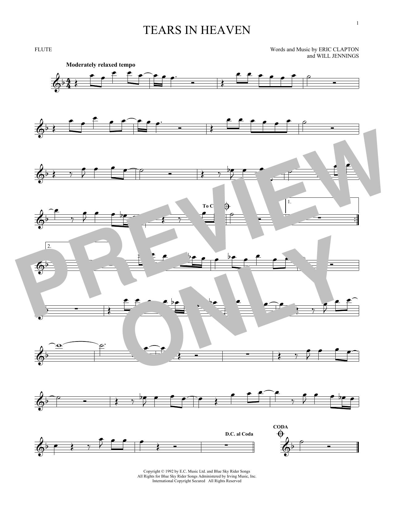Partition flûte Tears In Heaven de Eric Clapton - Flute traversiere