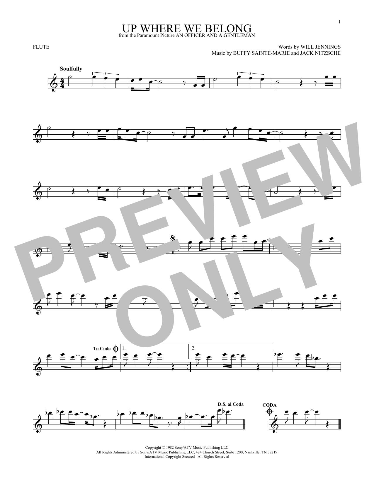 Partition flûte Up Where We Belong (from An Officer And A Gentleman) de Joe Cocker and Jennifer Warnes - Flute traversiere