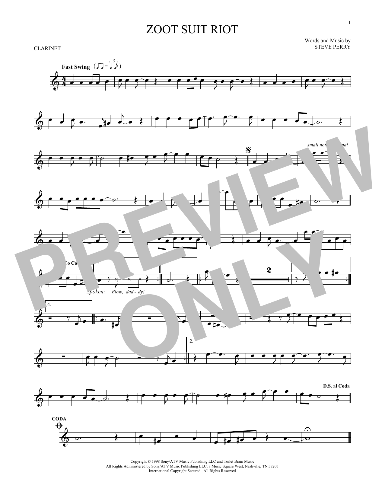 Partition clarinette Zoot Suit Riot de Cherry Poppin' Daddies - Clarinette