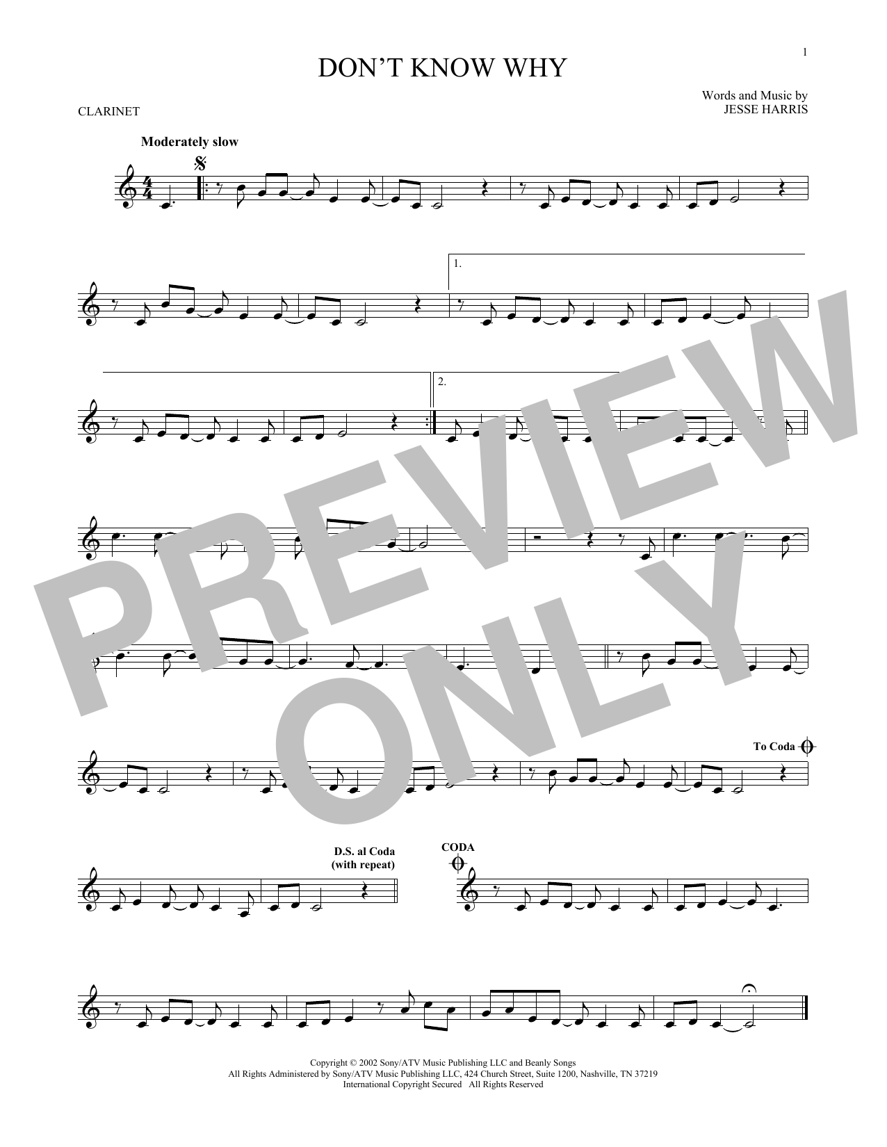 Partition clarinette Don't Know Why de Norah Jones - Clarinette