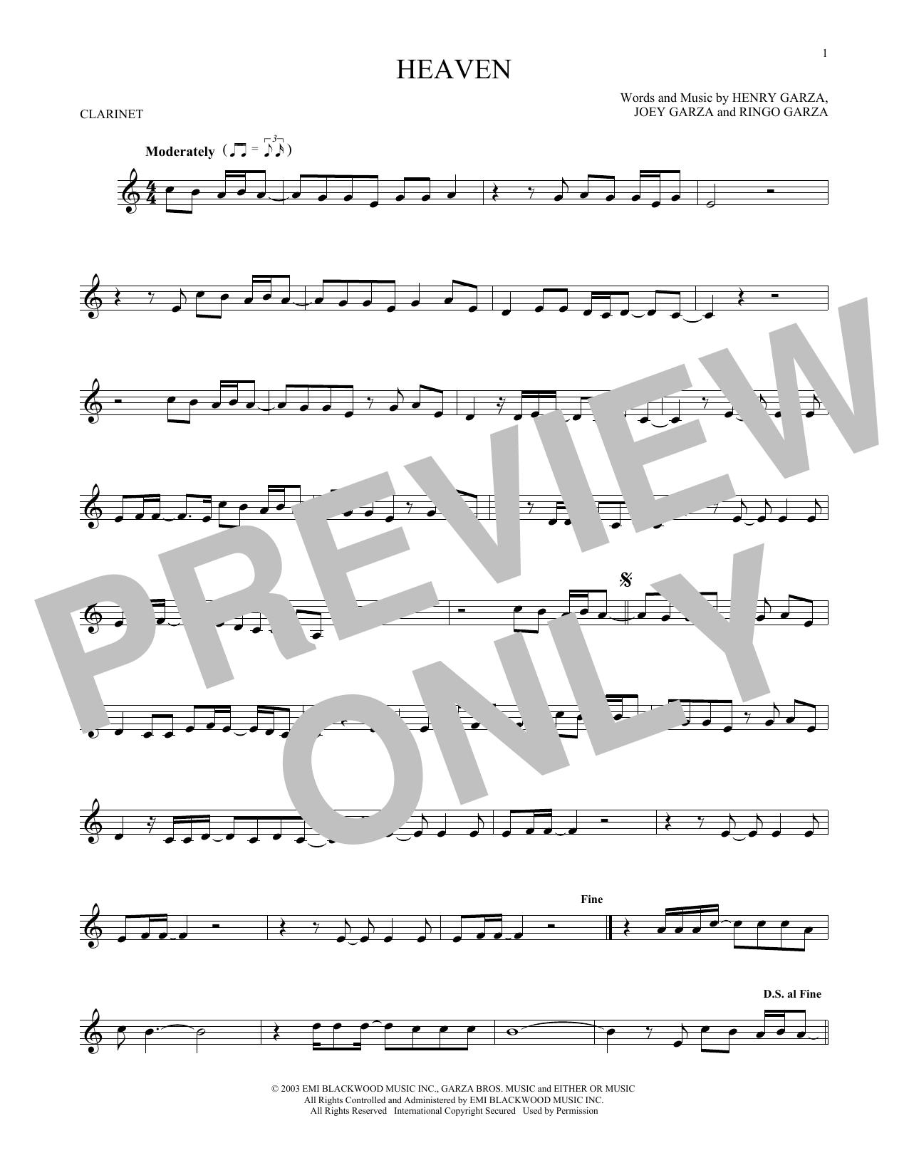 Partition clarinette Heaven de Los Lonely Boys - Clarinette