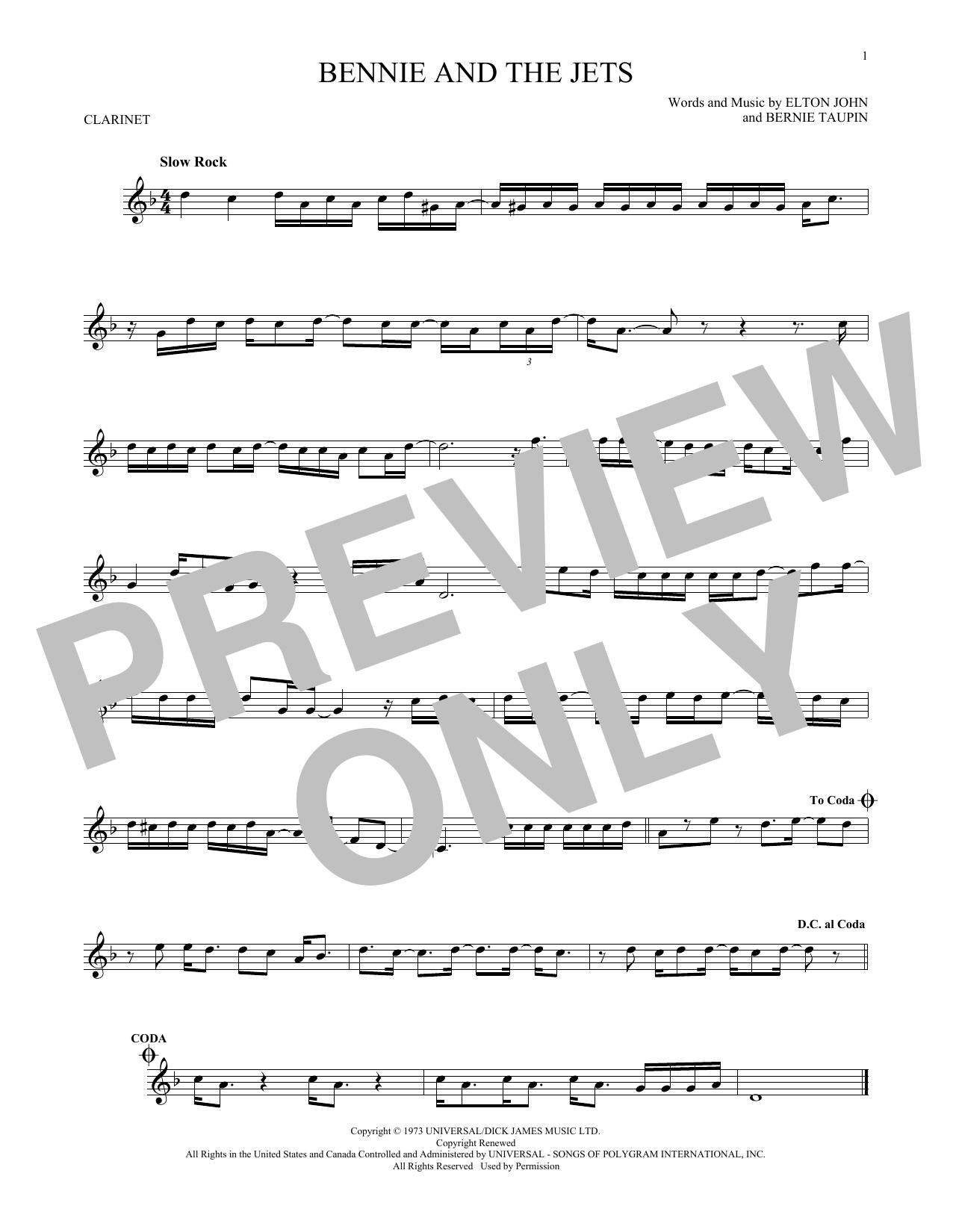Partition clarinette Bennie And The Jets de Elton John - Clarinette