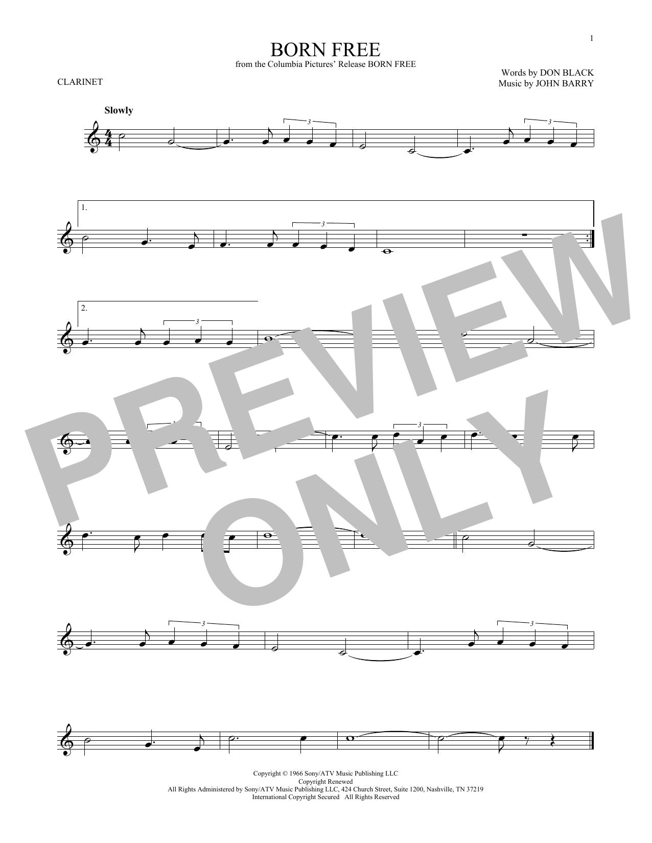 Partition clarinette Born Free de John Barry - Clarinette