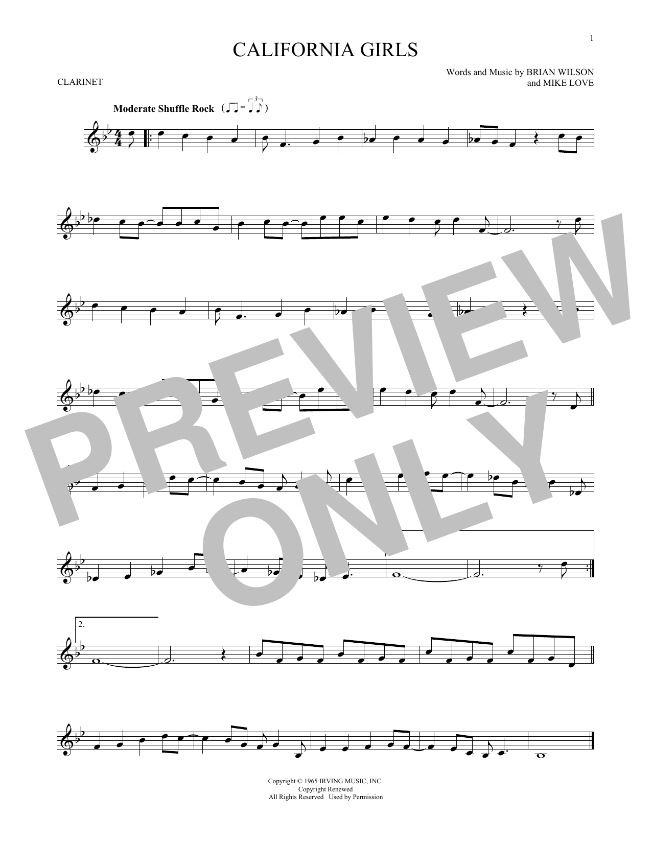 Partition clarinette California Girls de The Beach Boys - Clarinette