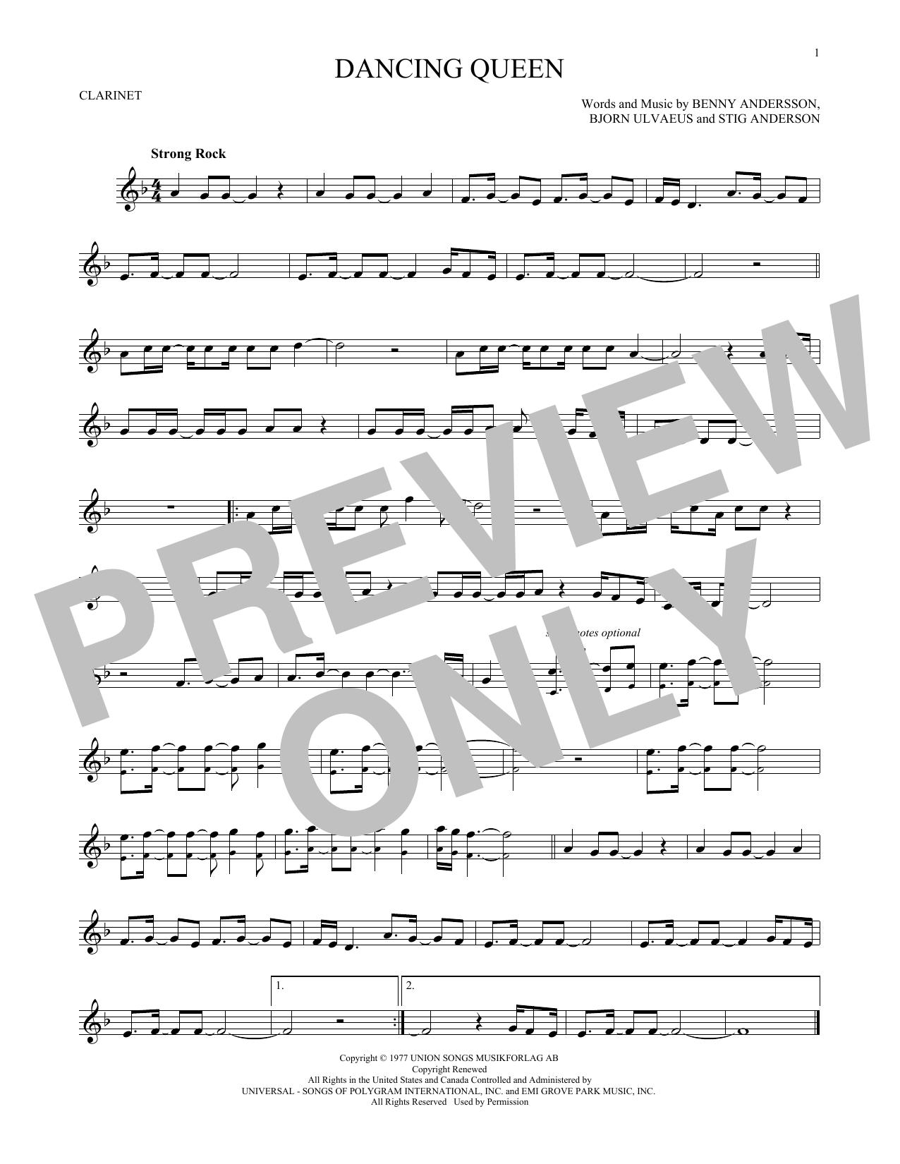 Partition clarinette Dancing Queen de Abba - Clarinette
