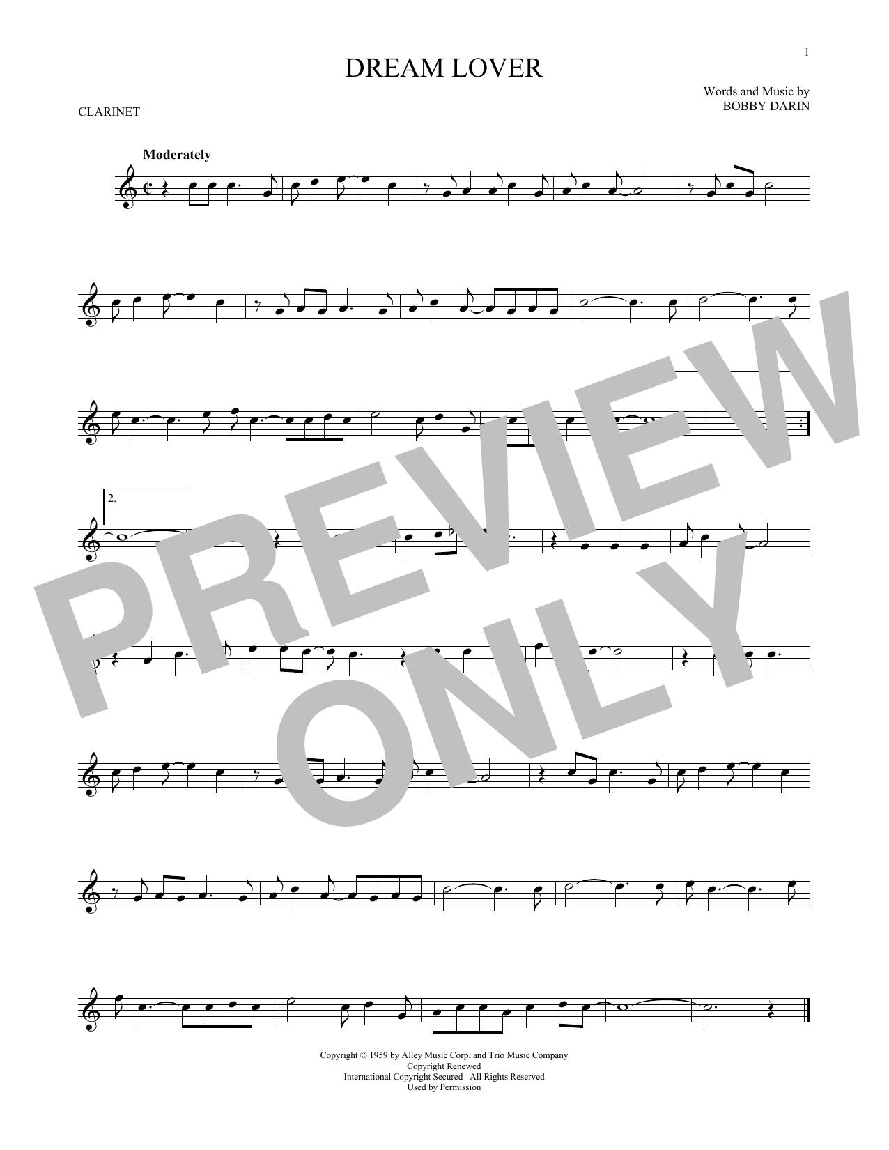 Partition clarinette Dream Lover de Bobby Darin - Clarinette