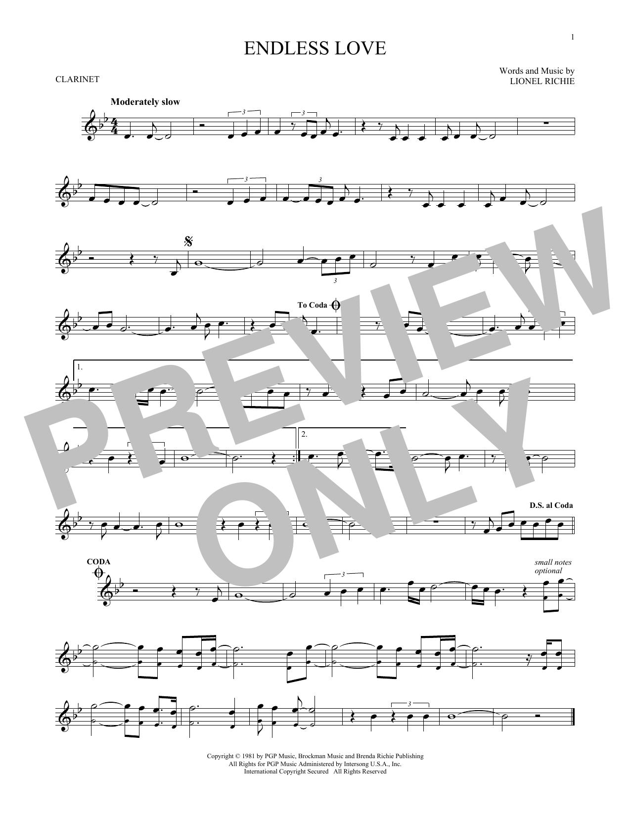 Partition clarinette Endless Love de Lionel Richie & Diana Ross - Clarinette