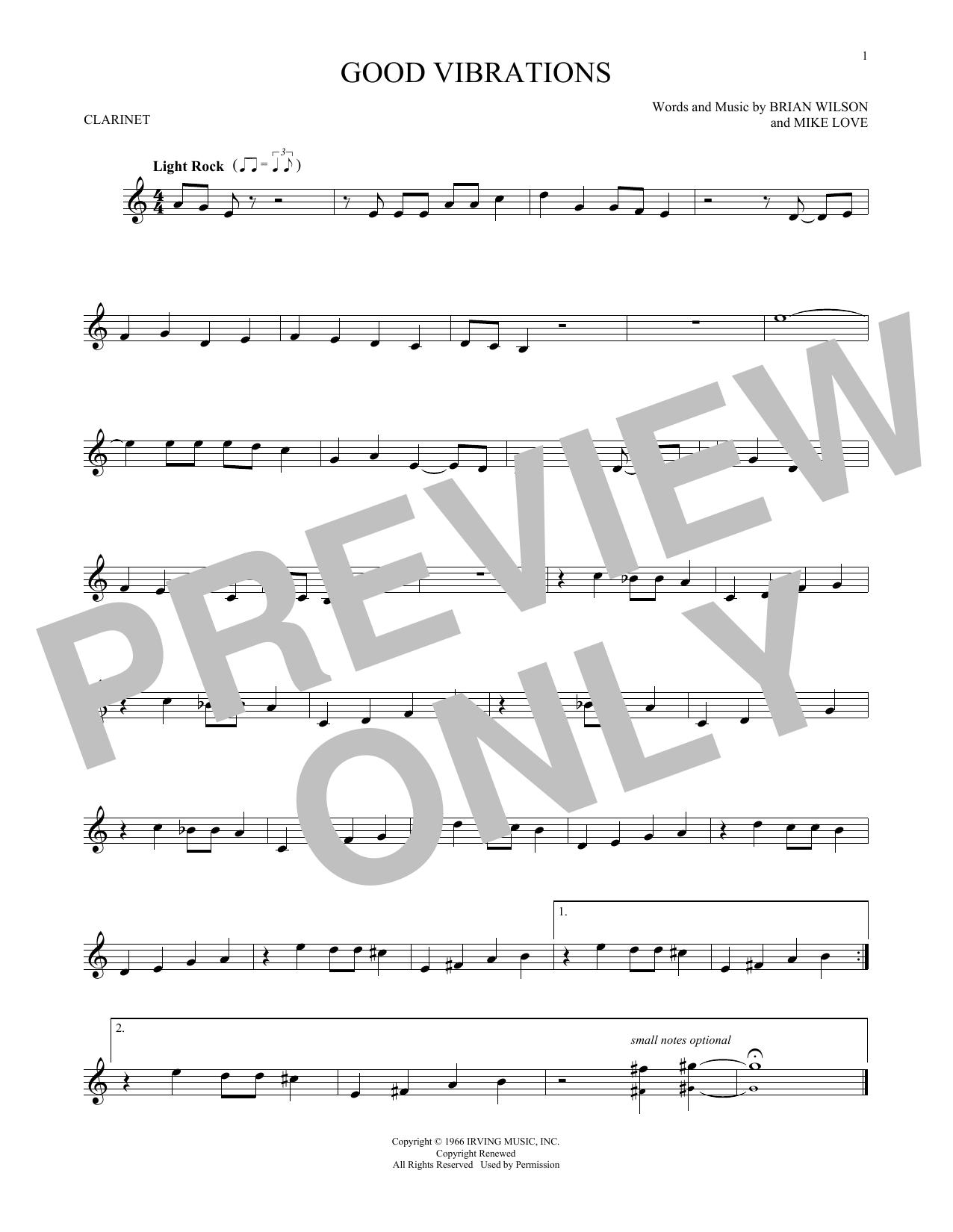 Partition clarinette Good Vibrations de The Beach Boys - Clarinette