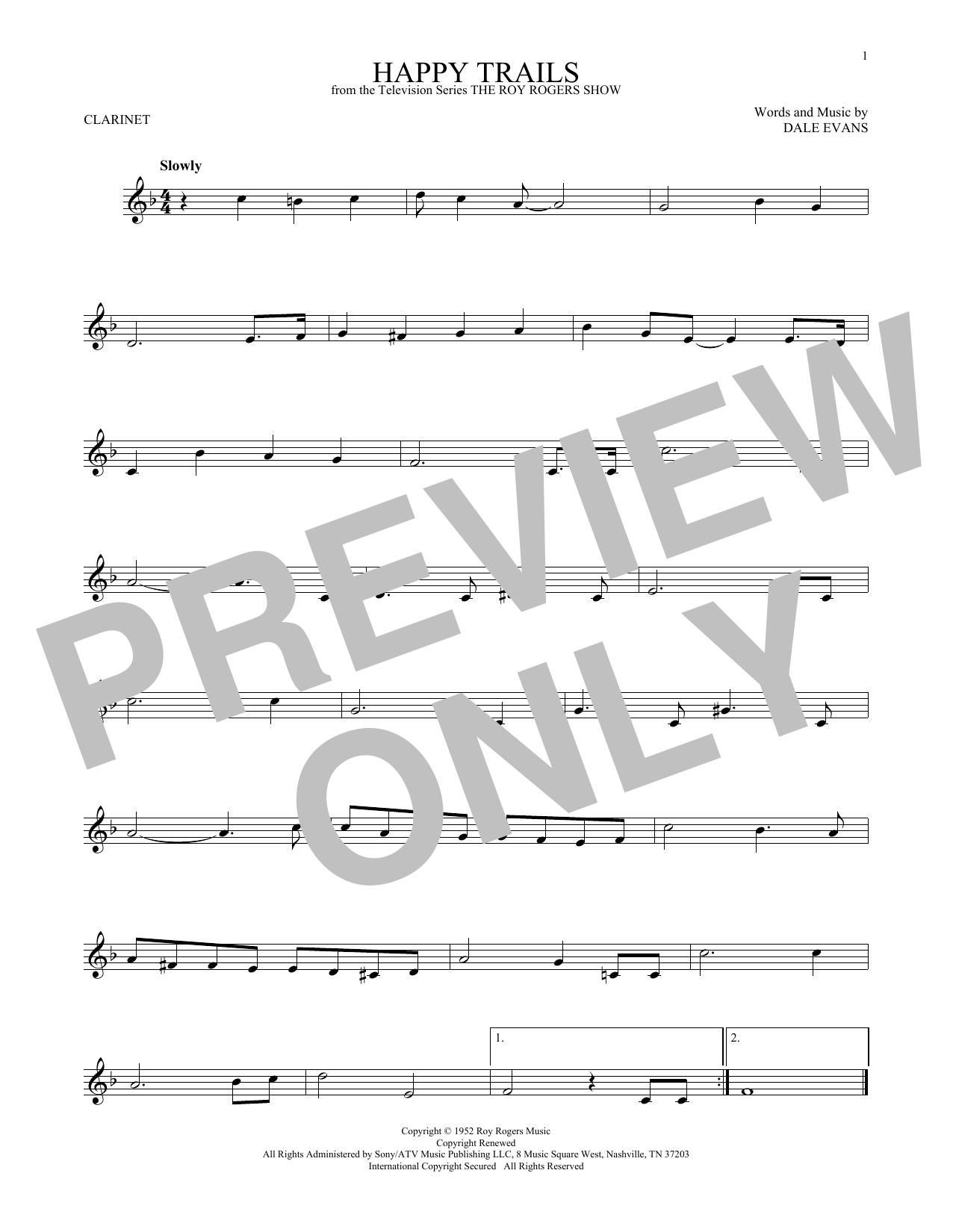 Partition clarinette Happy Trails de Roy Rogers - Clarinette