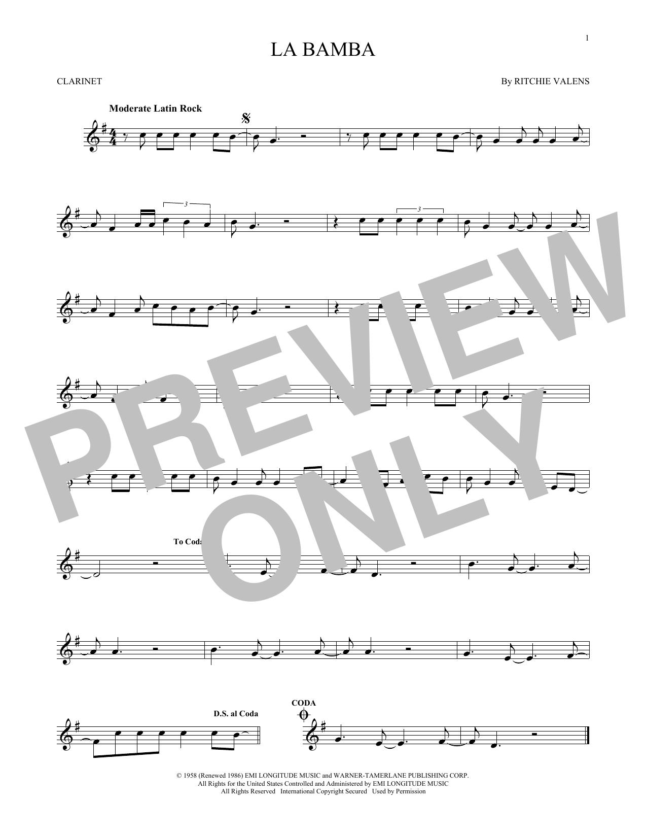 Partition clarinette La Bamba de Ritchie Valens - Clarinette