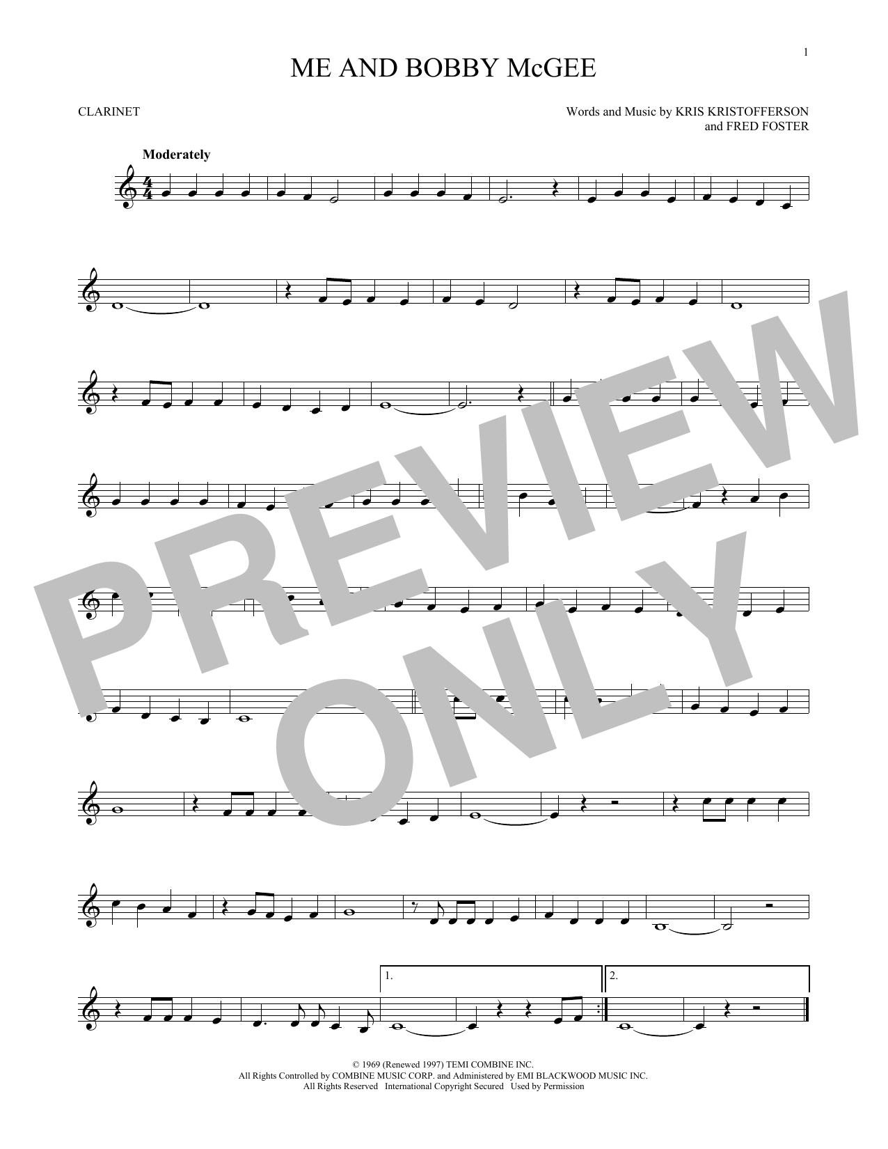 Partition clarinette Me And Bobby McGee de Kris Kristofferson - Clarinette