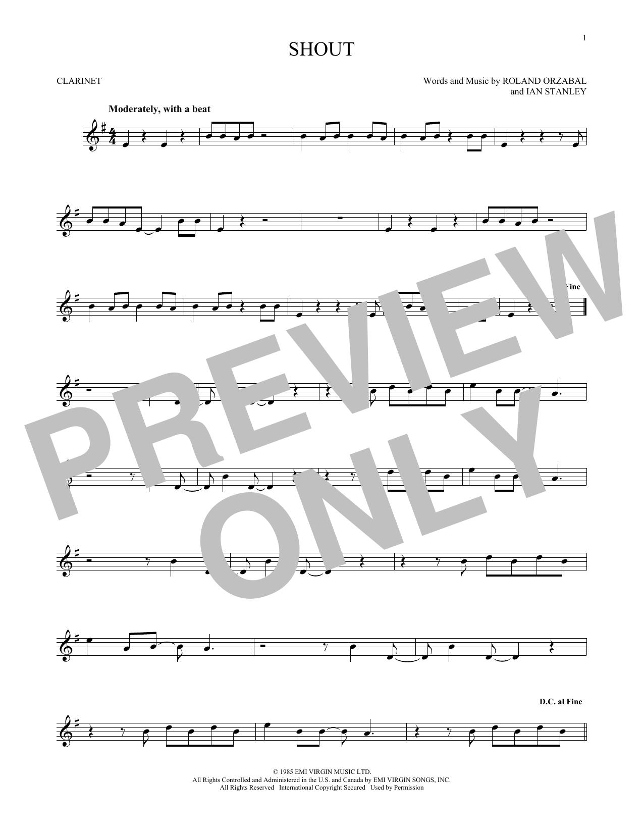 Partition clarinette Shout de Tears for Fears - Clarinette