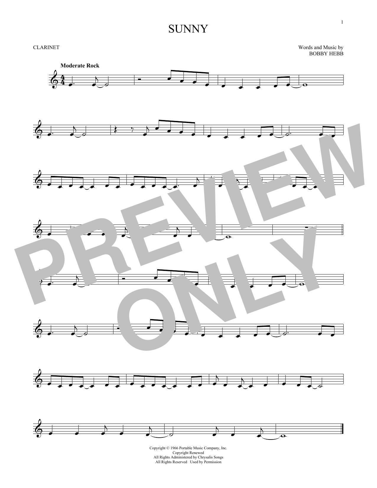 Partition clarinette Sunny de Bobby Hebb - Clarinette