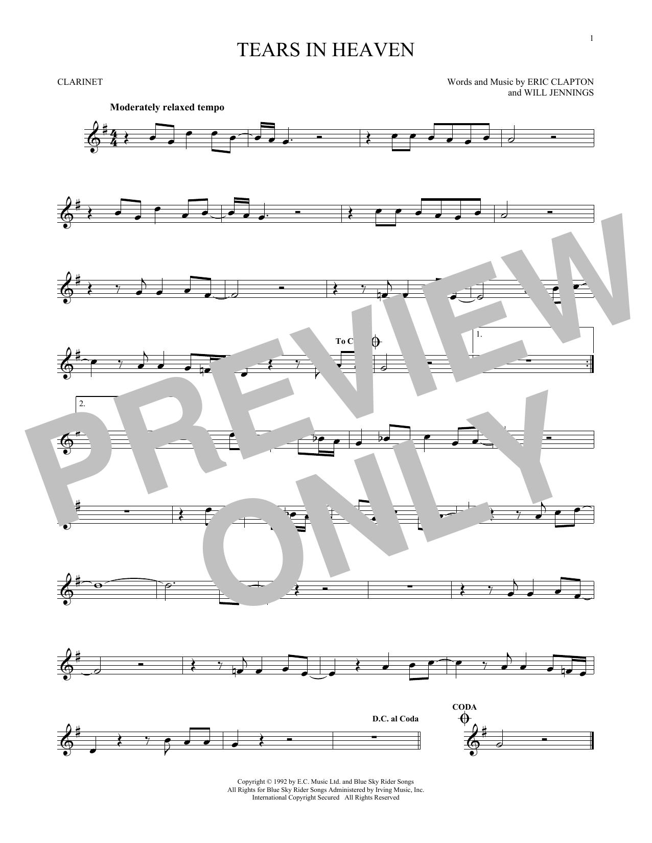 Partition clarinette Tears In Heaven de Eric Clapton - Clarinette