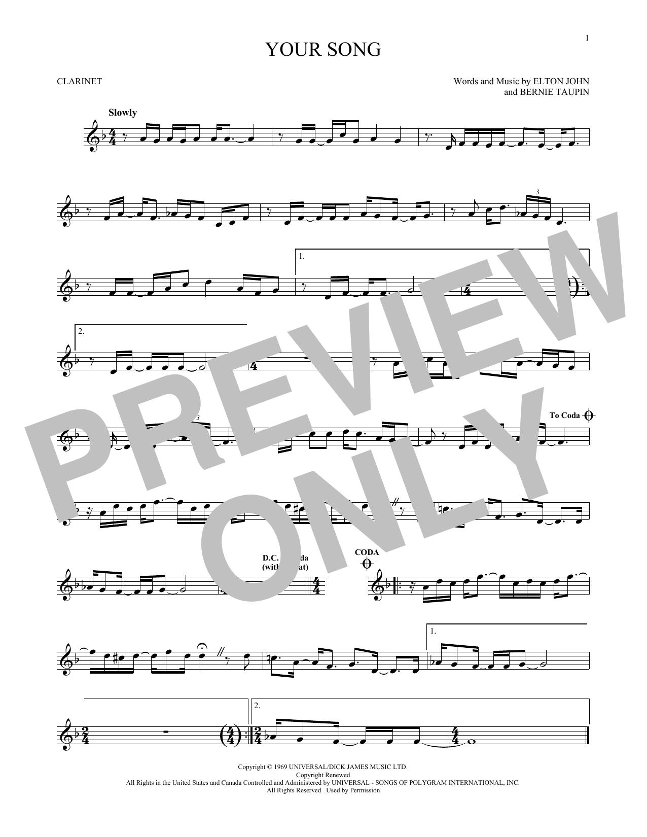Partition clarinette Your Song de Elton John - Clarinette