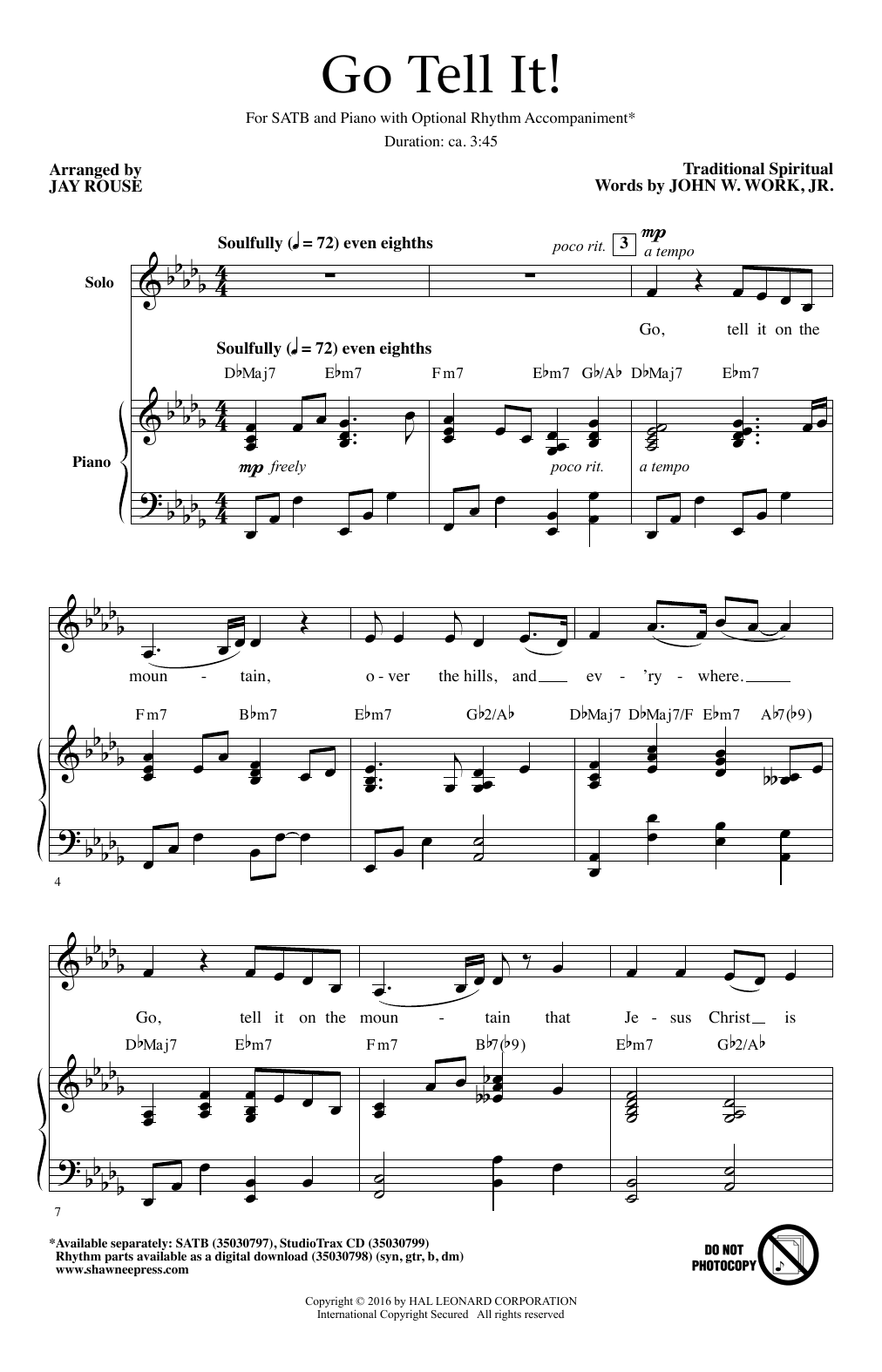 Partition chorale Go Tell It! (arr. Jay Rouse) de Traditional Spiritual - SATB