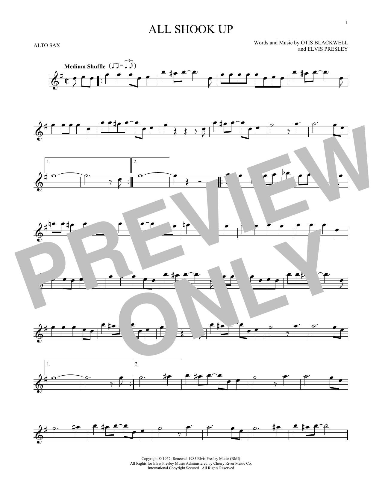 Partition saxophone All Shook Up de Elvis Presley - Sax Alto